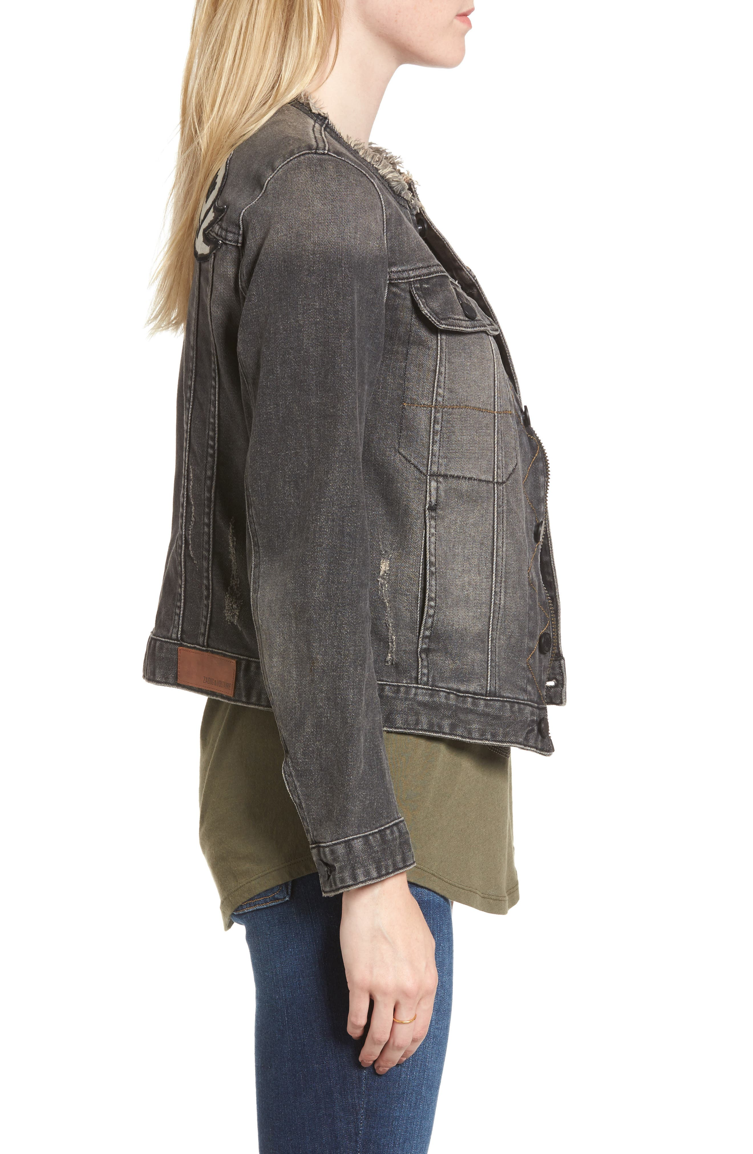 Love Now Crop Denim Jacket,                             Alternate thumbnail 3, color,                             Gris