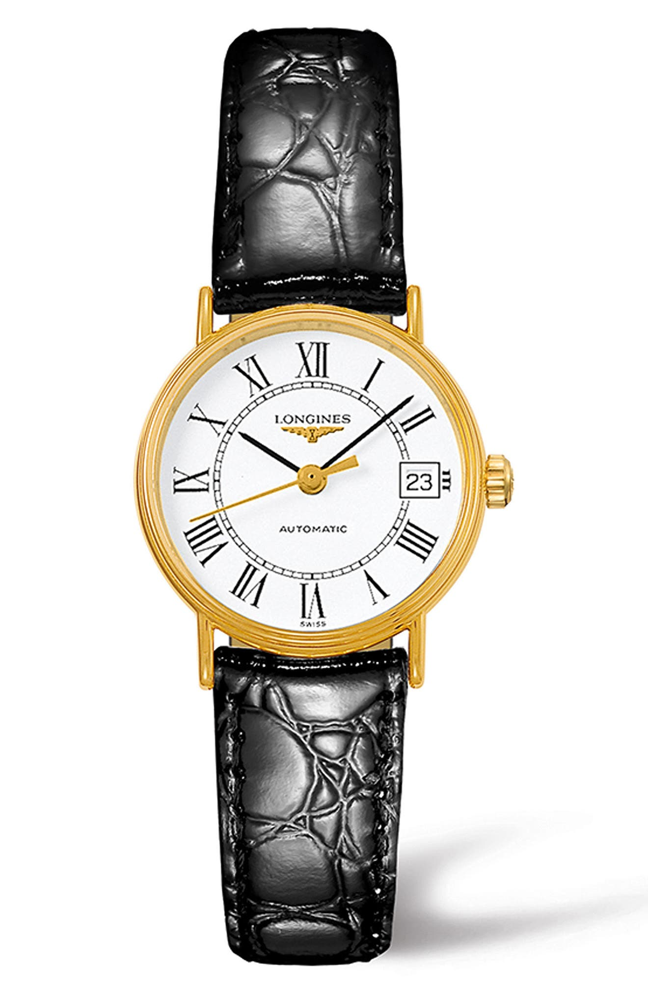 Alternate Image 1 Selected - Longines Présence Automatic Leather Strap Watch, 25.5mm