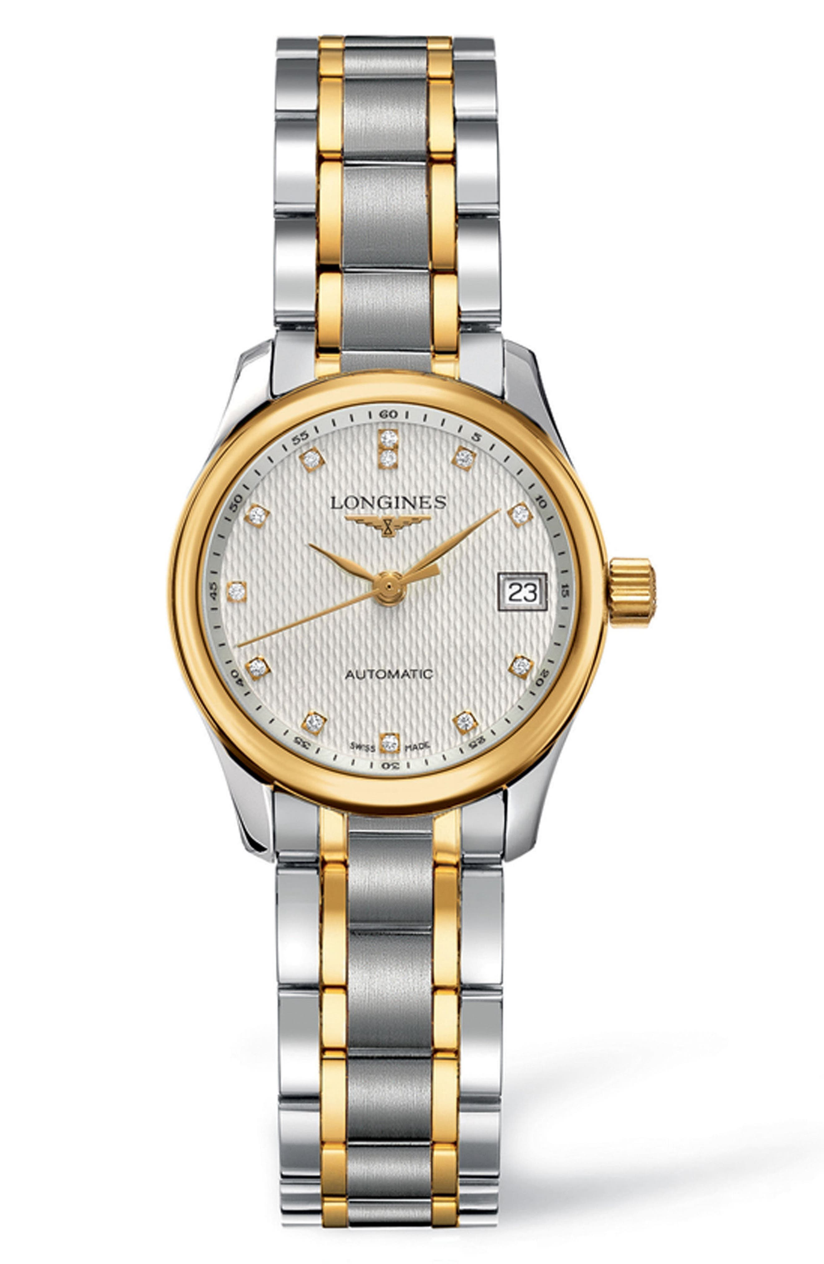 Master Automatic Diamond Bracelet Watch, 25.5mm,                             Main thumbnail 1, color,                             Silver/ Gold/ Silver