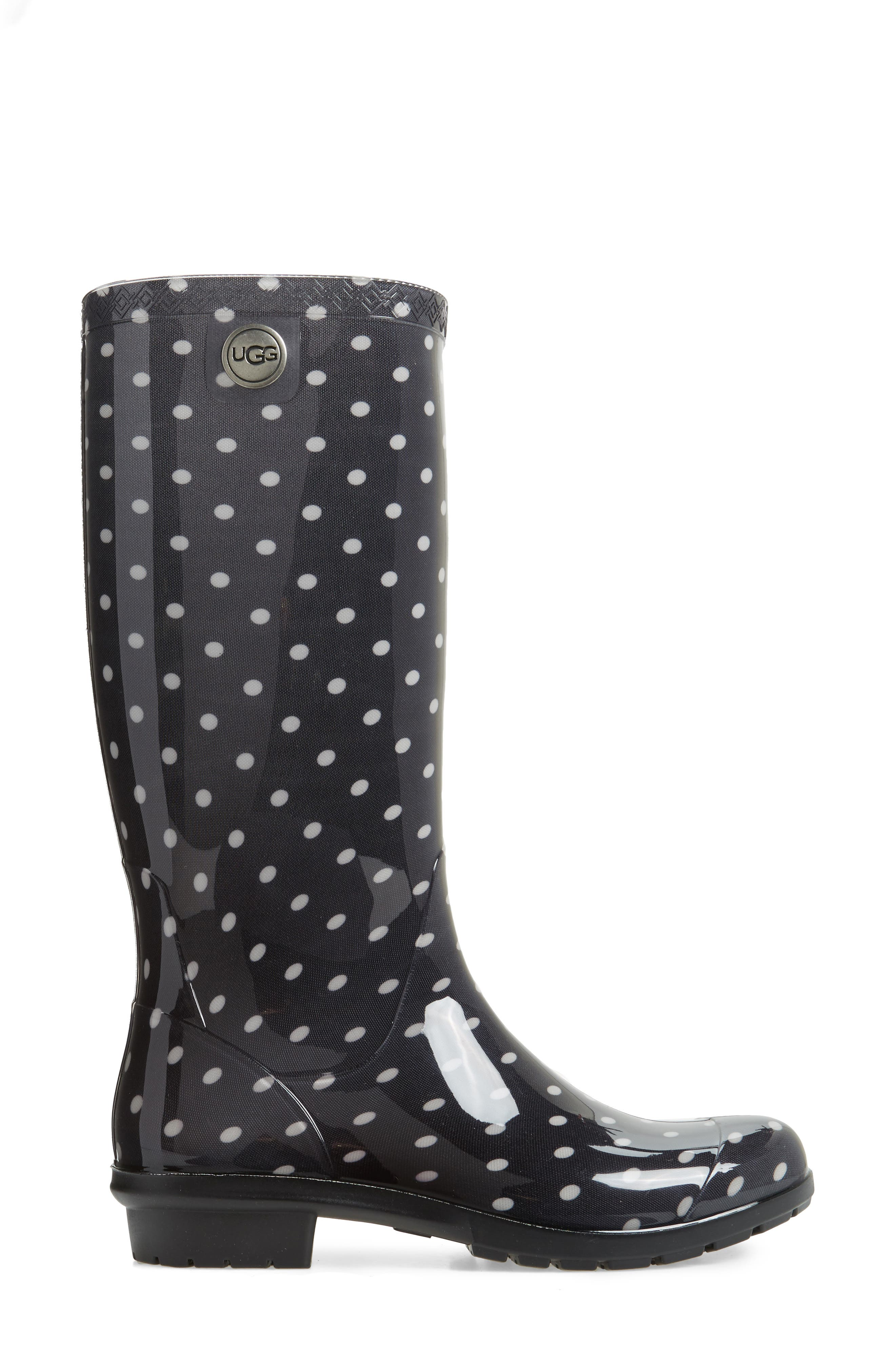 Shaye Polka Dot Rain Boot,                             Alternate thumbnail 3, color,                             Black/ White