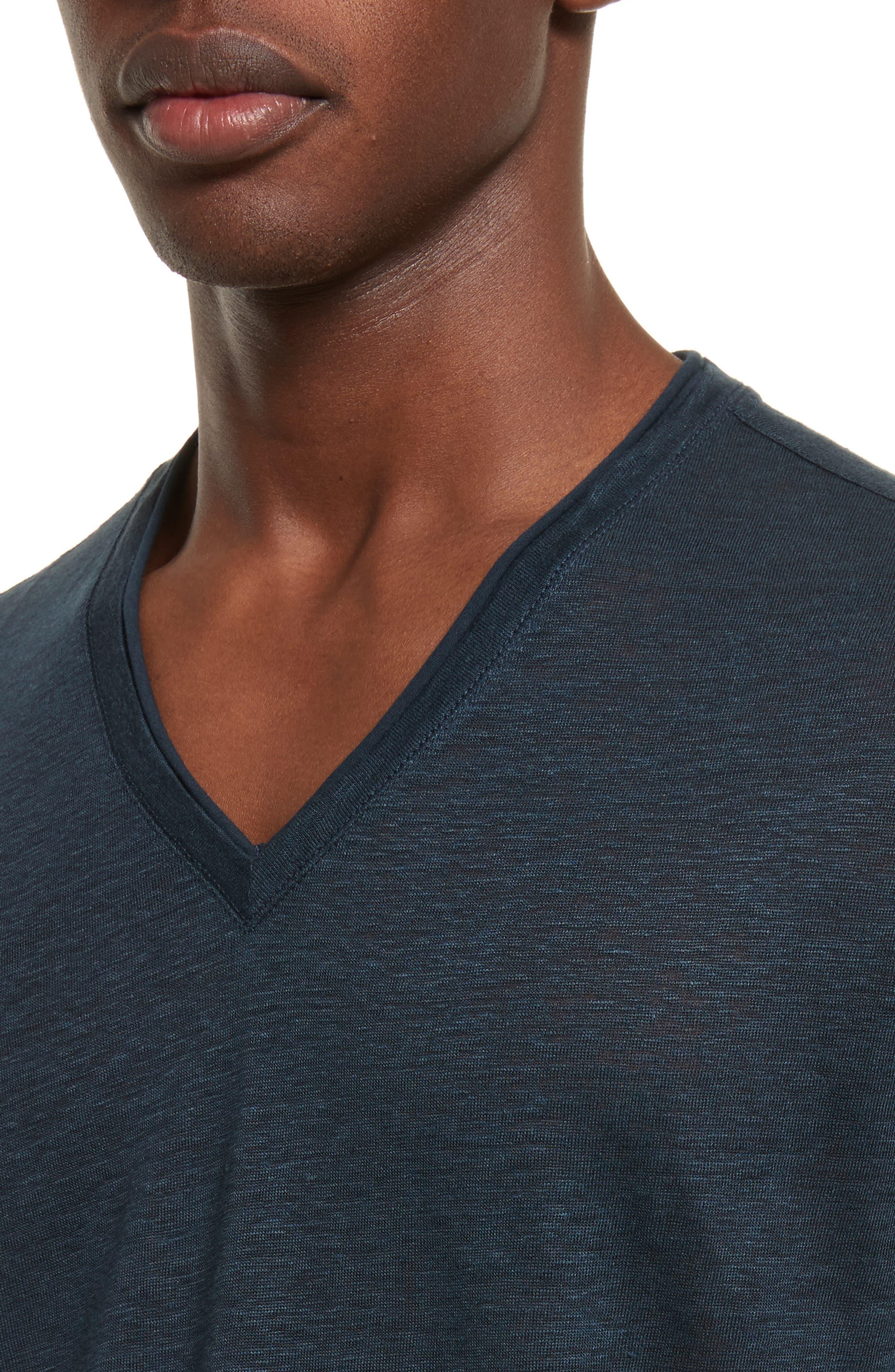 Alternate Image 4  - John Varvatos Collection Linen V-Neck T-Shirt
