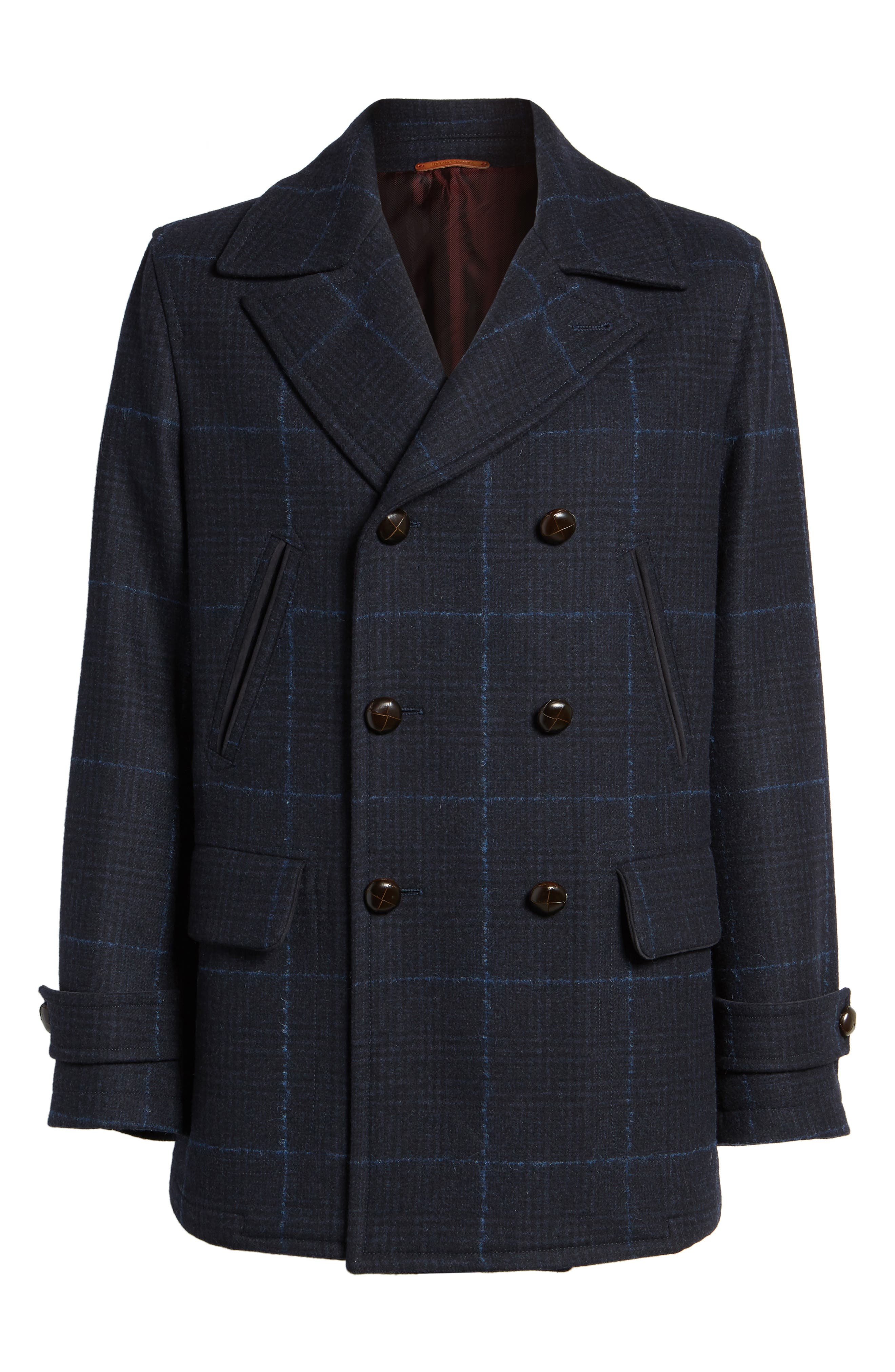 Wool Plaid Peacoat,                             Alternate thumbnail 6, color,                             Navy