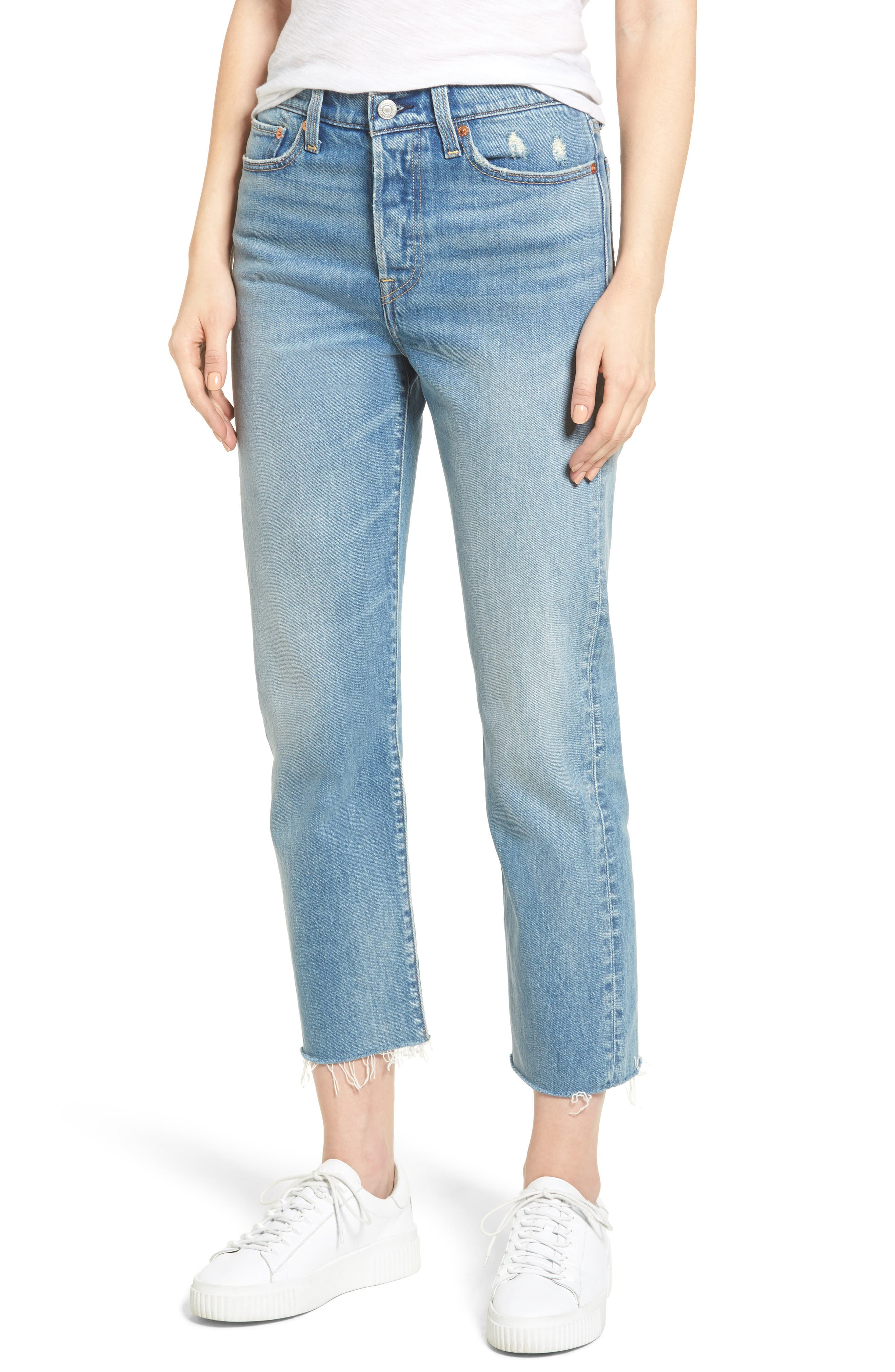 Wedgie Straight Leg Crop Jeans,                             Main thumbnail 1, color,                             Rough Tide