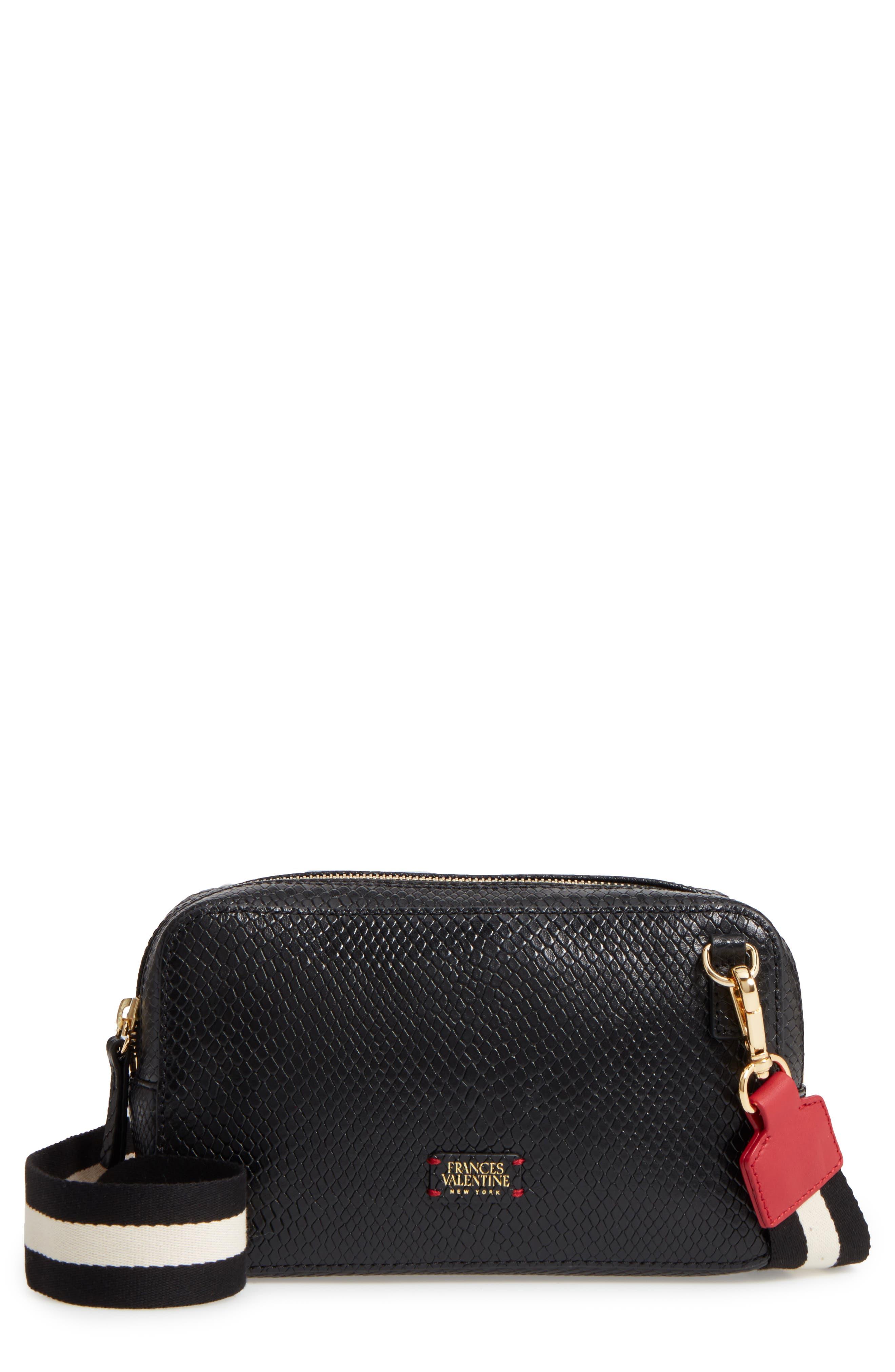 Snakeskin Embossed Leather Crossbody Bag,                             Main thumbnail 1, color,                             Black