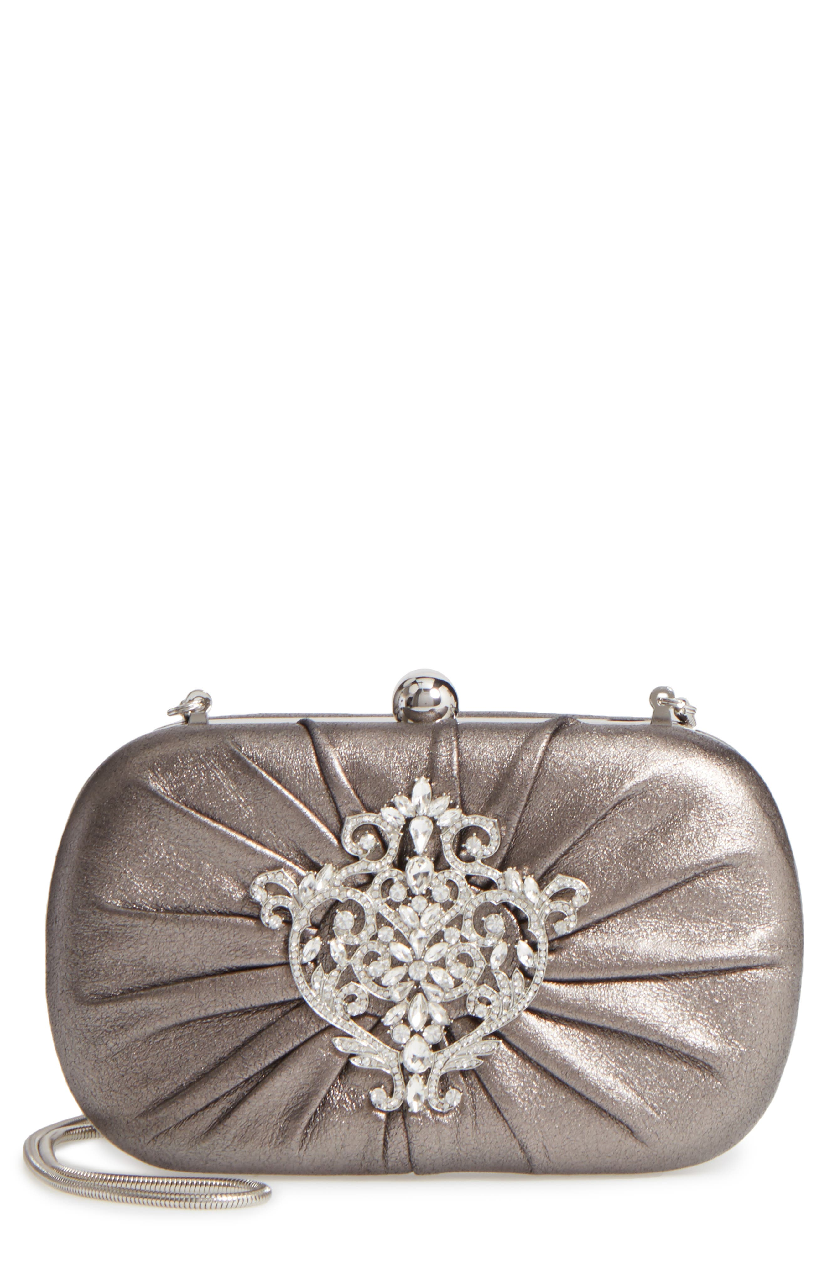 Diva Metallic Leather Clutch,                             Main thumbnail 1, color,                             Pewter