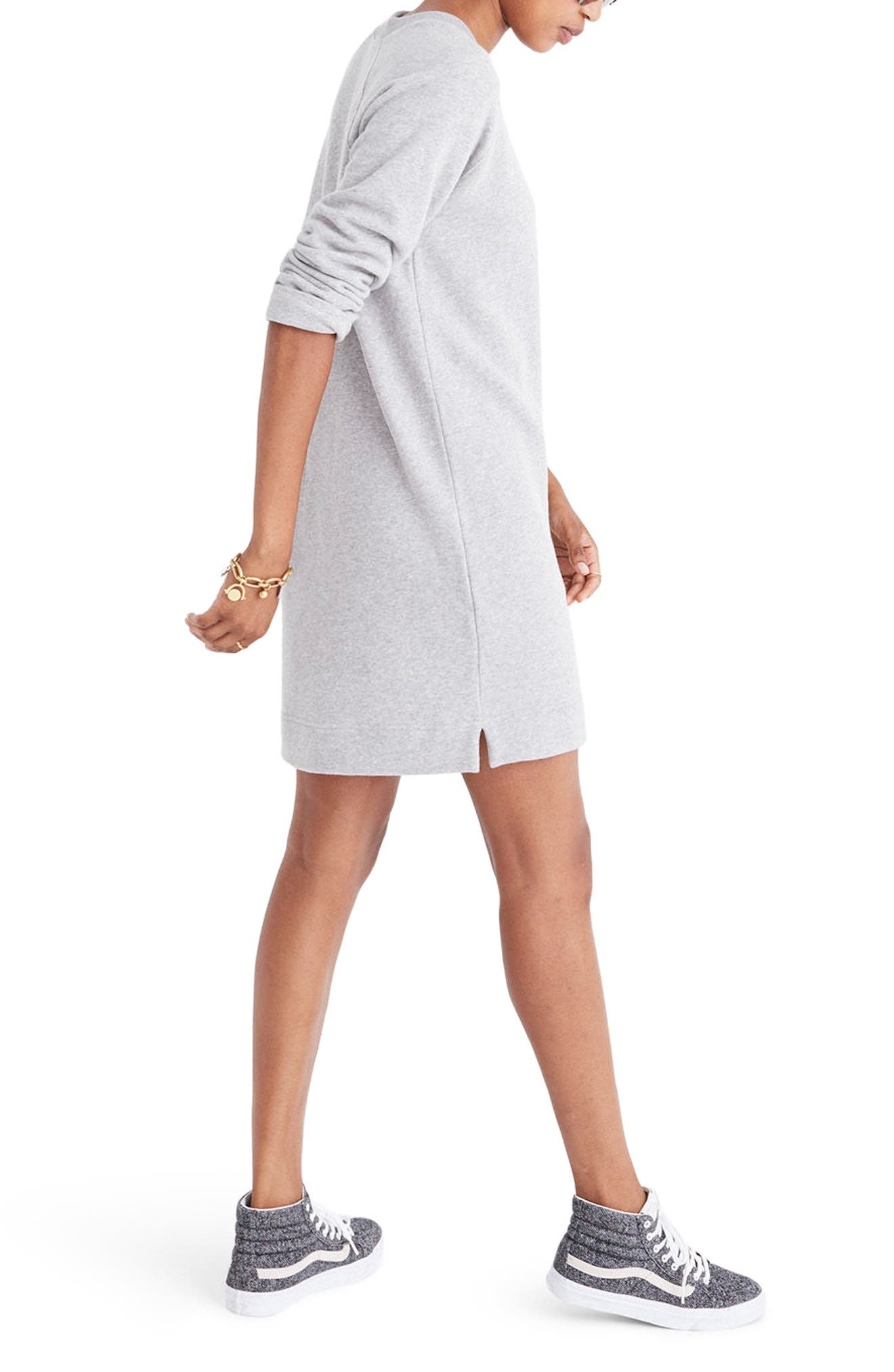 Sweatshirt Dress,                             Alternate thumbnail 2, color,                             Heather Smoke