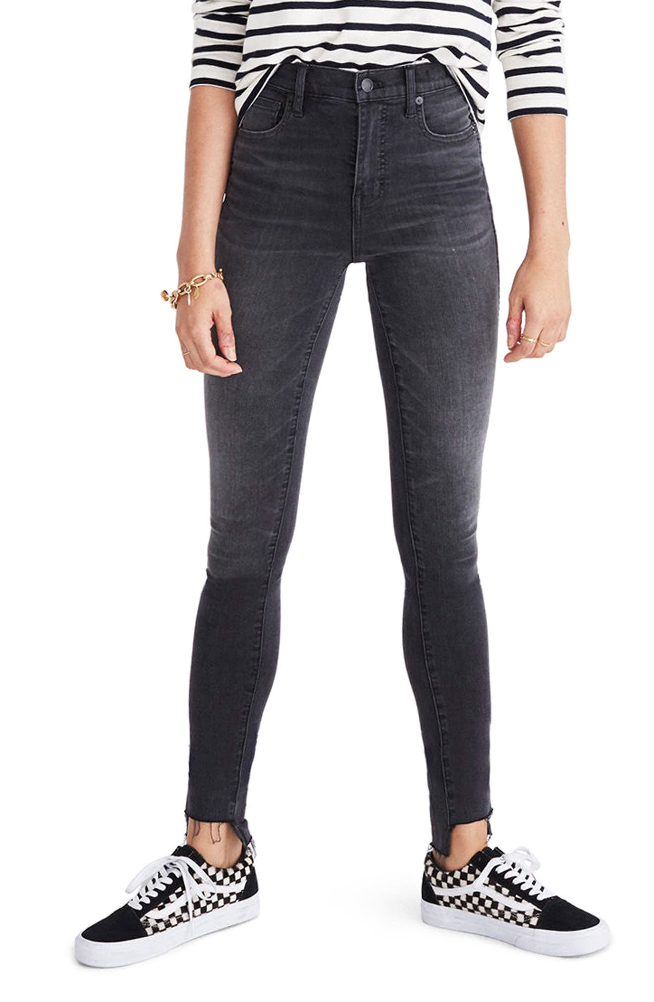 Alternate Image 1 Selected - Madewell 10-Inch High Rise Step Hem Skinny Jeans (Slater Wash)