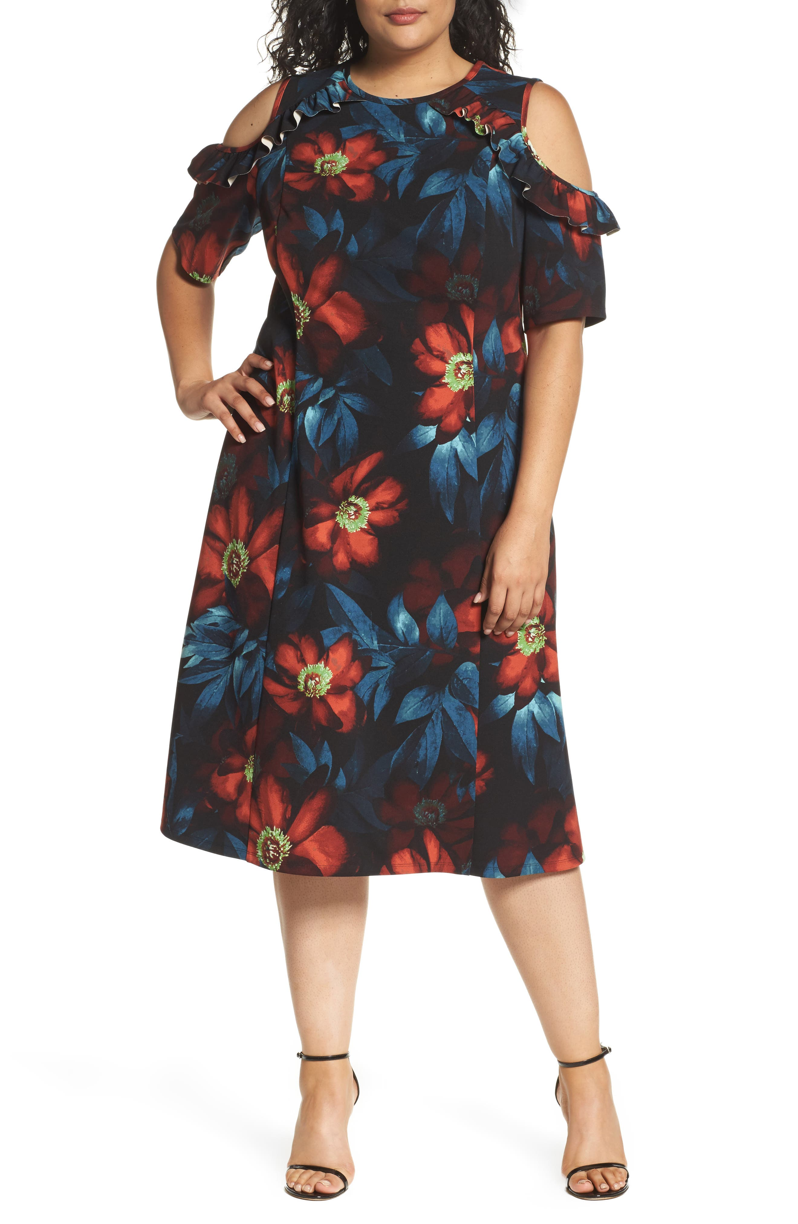 Cold Shoulder Floral A-Line Dress,                         Main,                         color, Black Rust