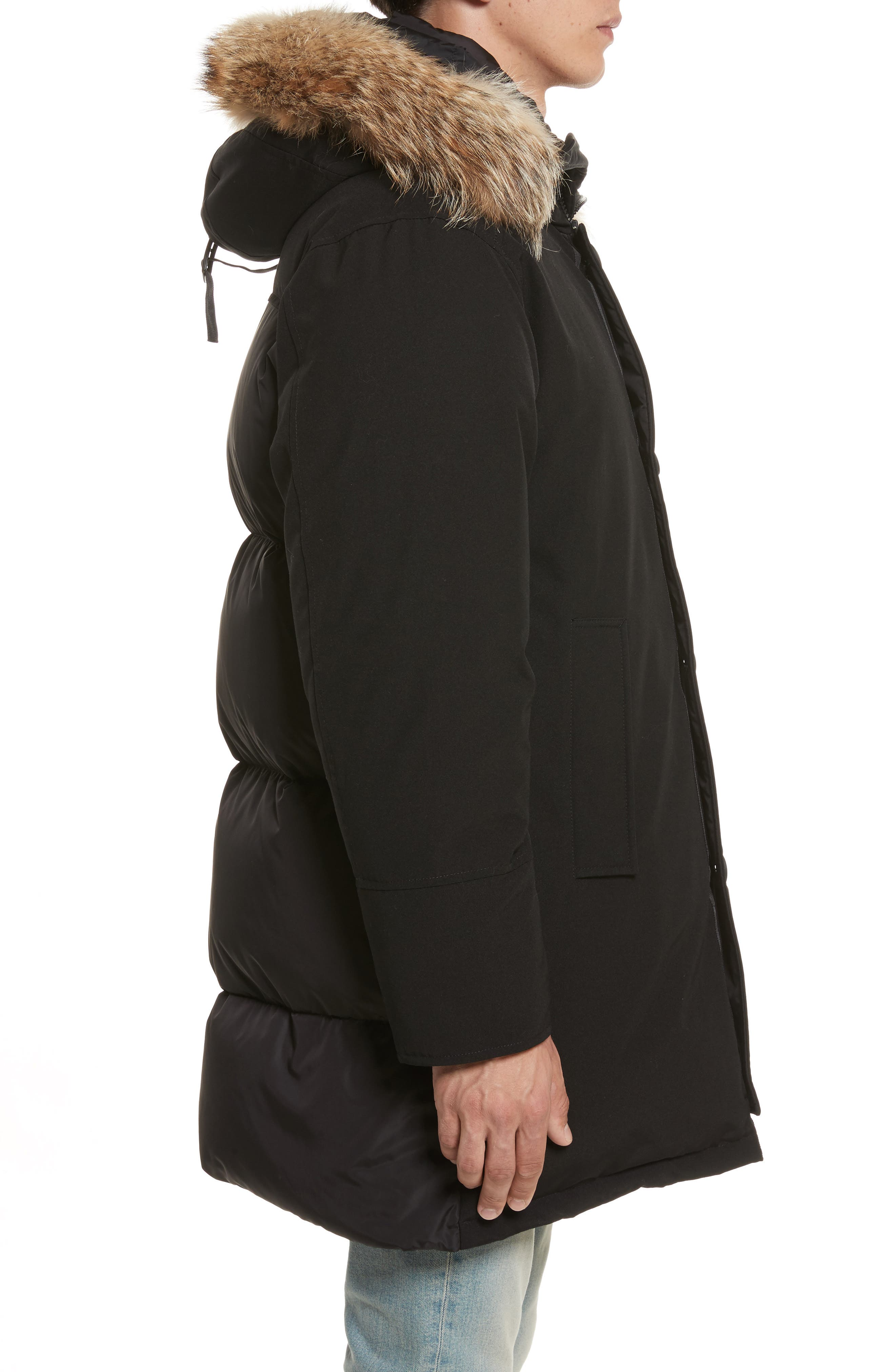 Aurelien Down Parka with Genuine Fur Trim,                             Alternate thumbnail 3, color,                             Black