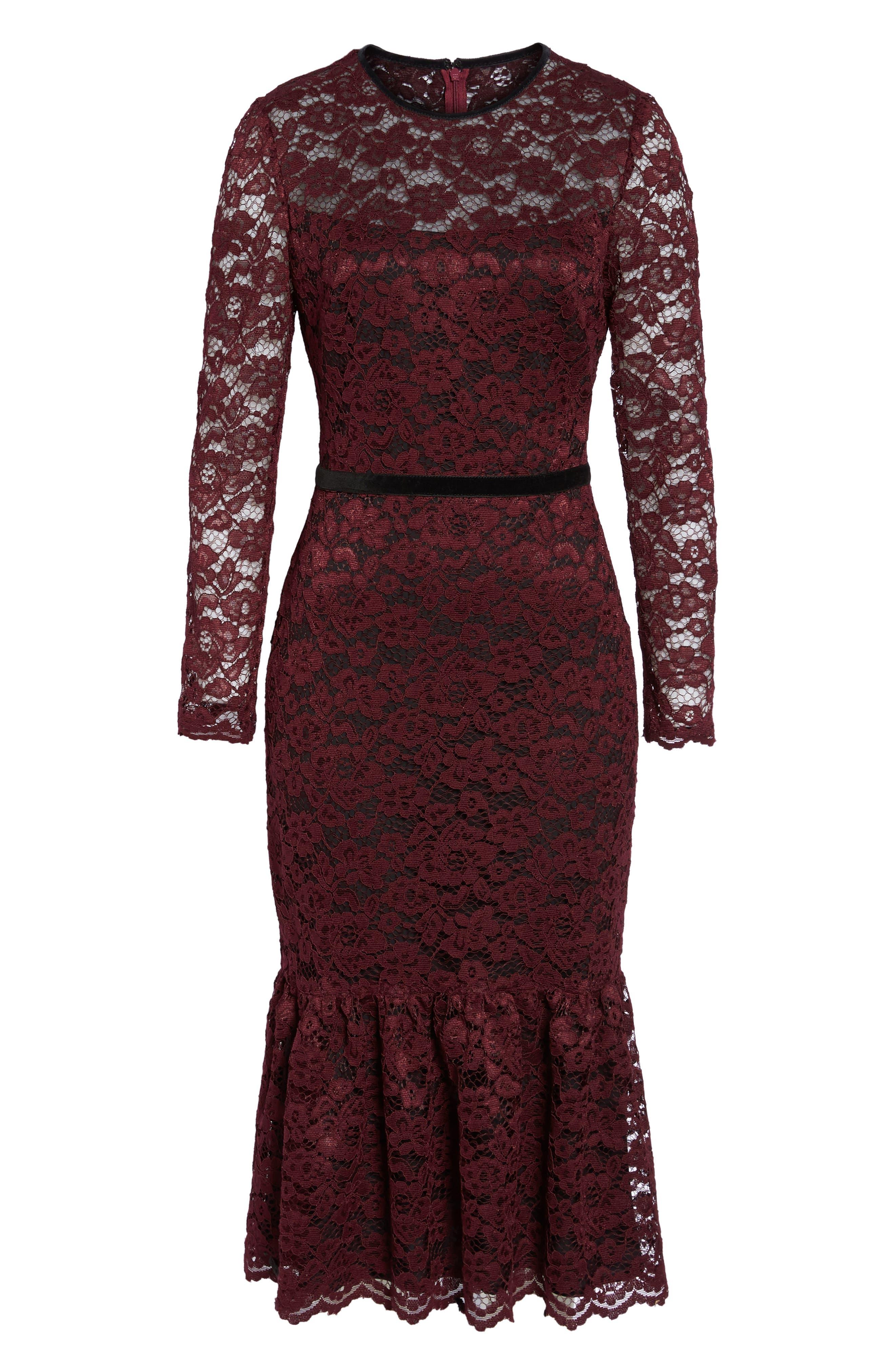 Lace Midi Dress,                             Alternate thumbnail 7, color,                             Plum Wine