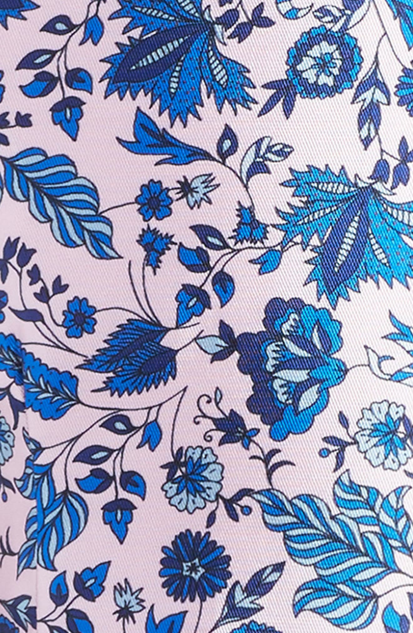 Print Fit & Flare Dress,                             Alternate thumbnail 3, color,                             Pink/ Blue