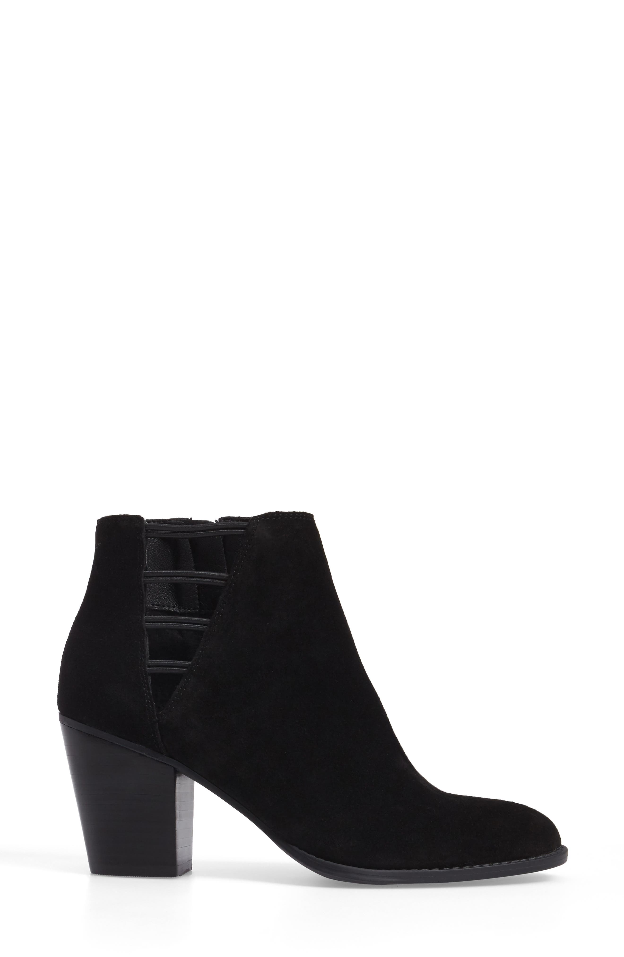 Yasma Bootie,                             Alternate thumbnail 3, color,                             Black Suede