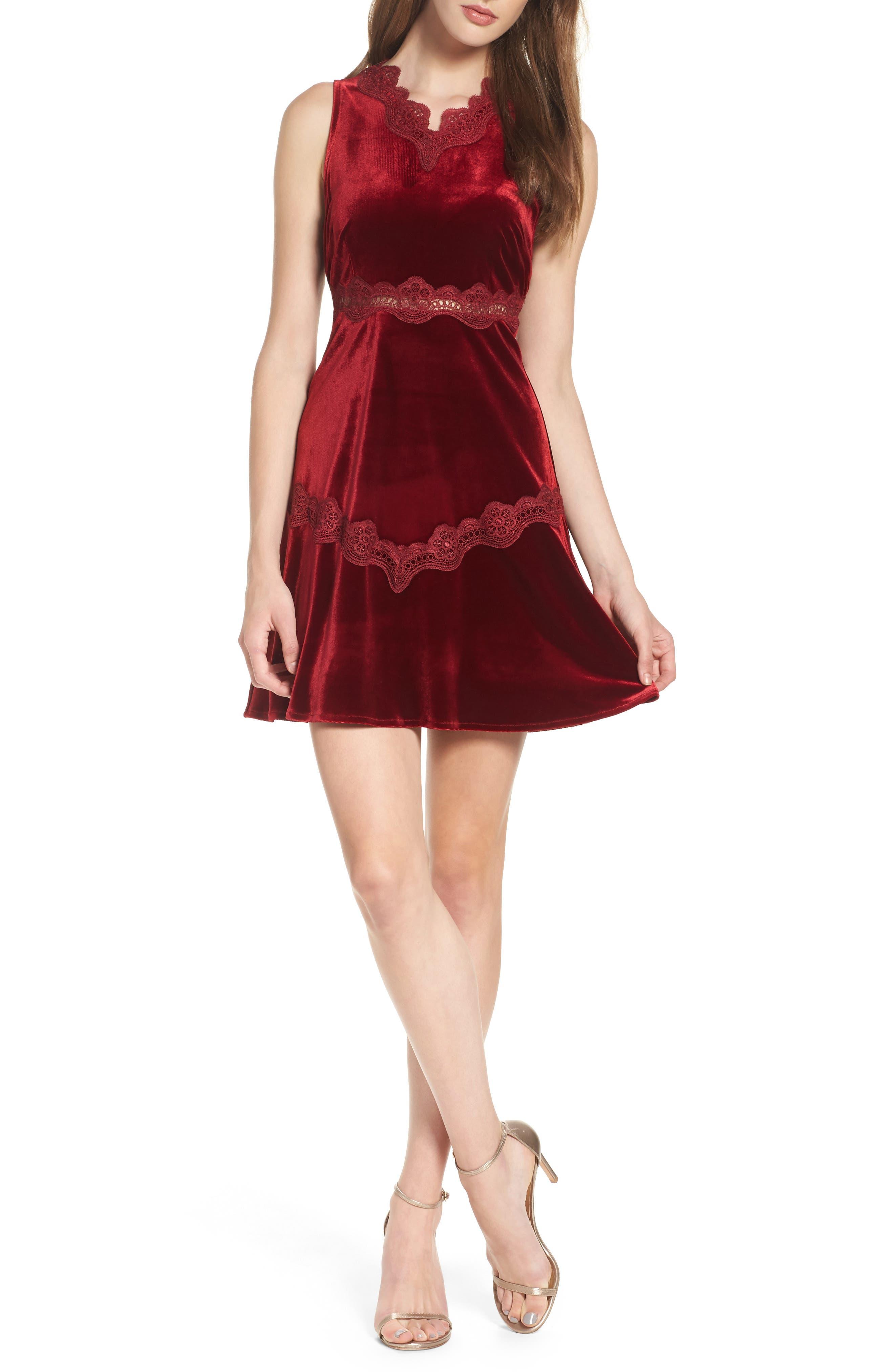 Foxiedox Antila Velvet Fit & Flare Dress