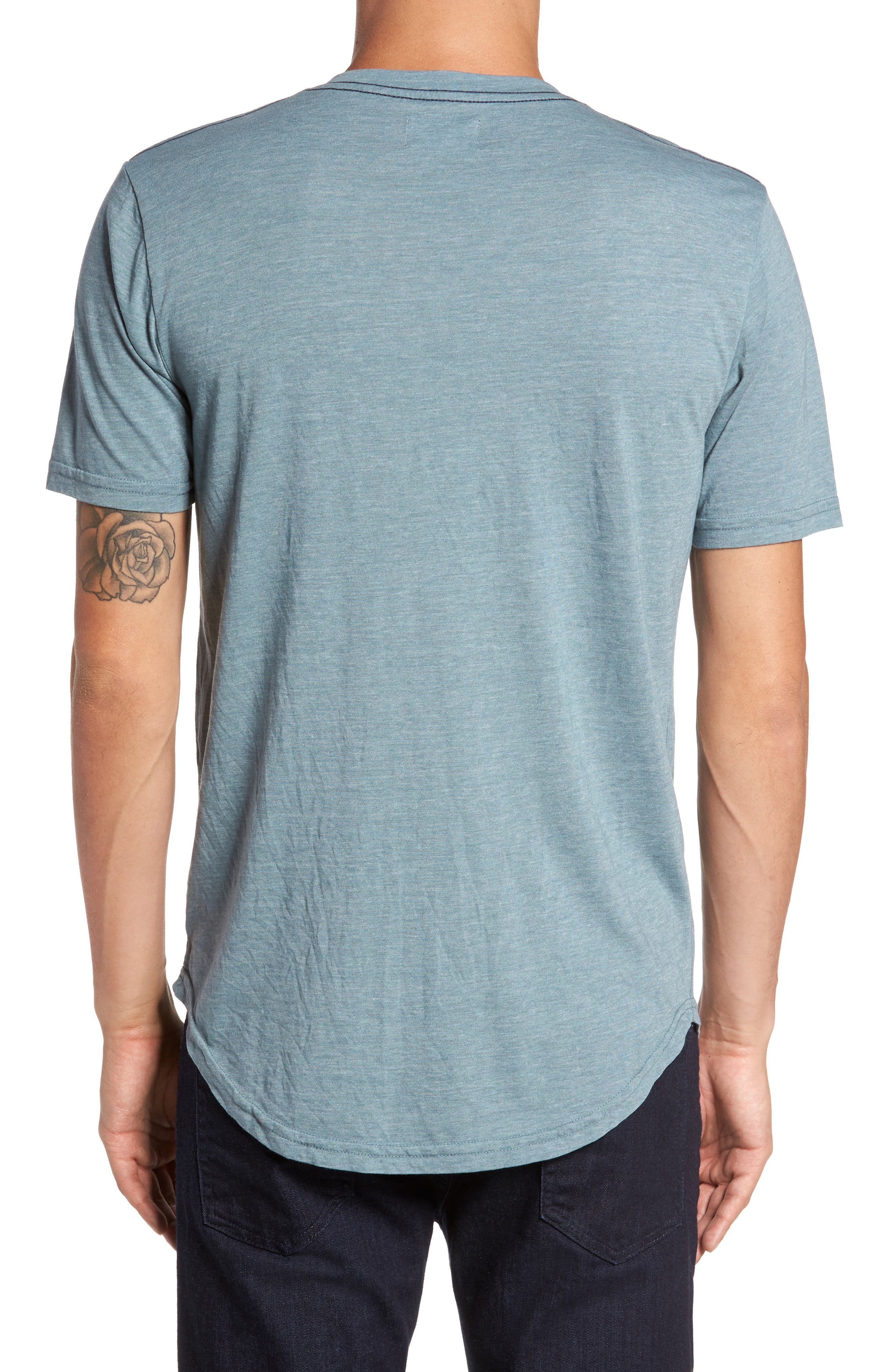 Scallop Triblend V-Neck T-Shirt,                             Alternate thumbnail 2, color,                             Real Teal