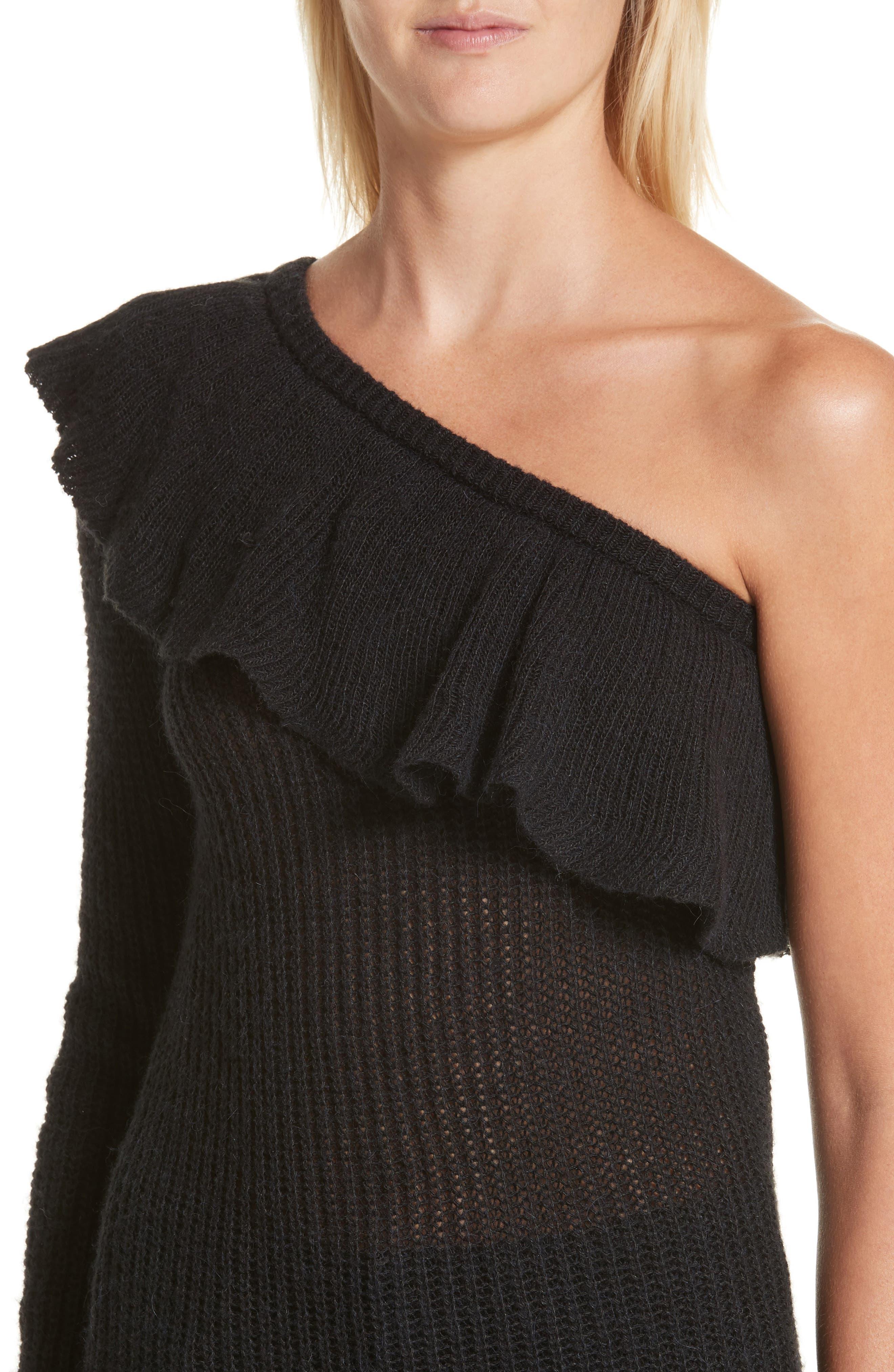 One-Shoulder Ruffle Sweater,                             Alternate thumbnail 4, color,                             Black