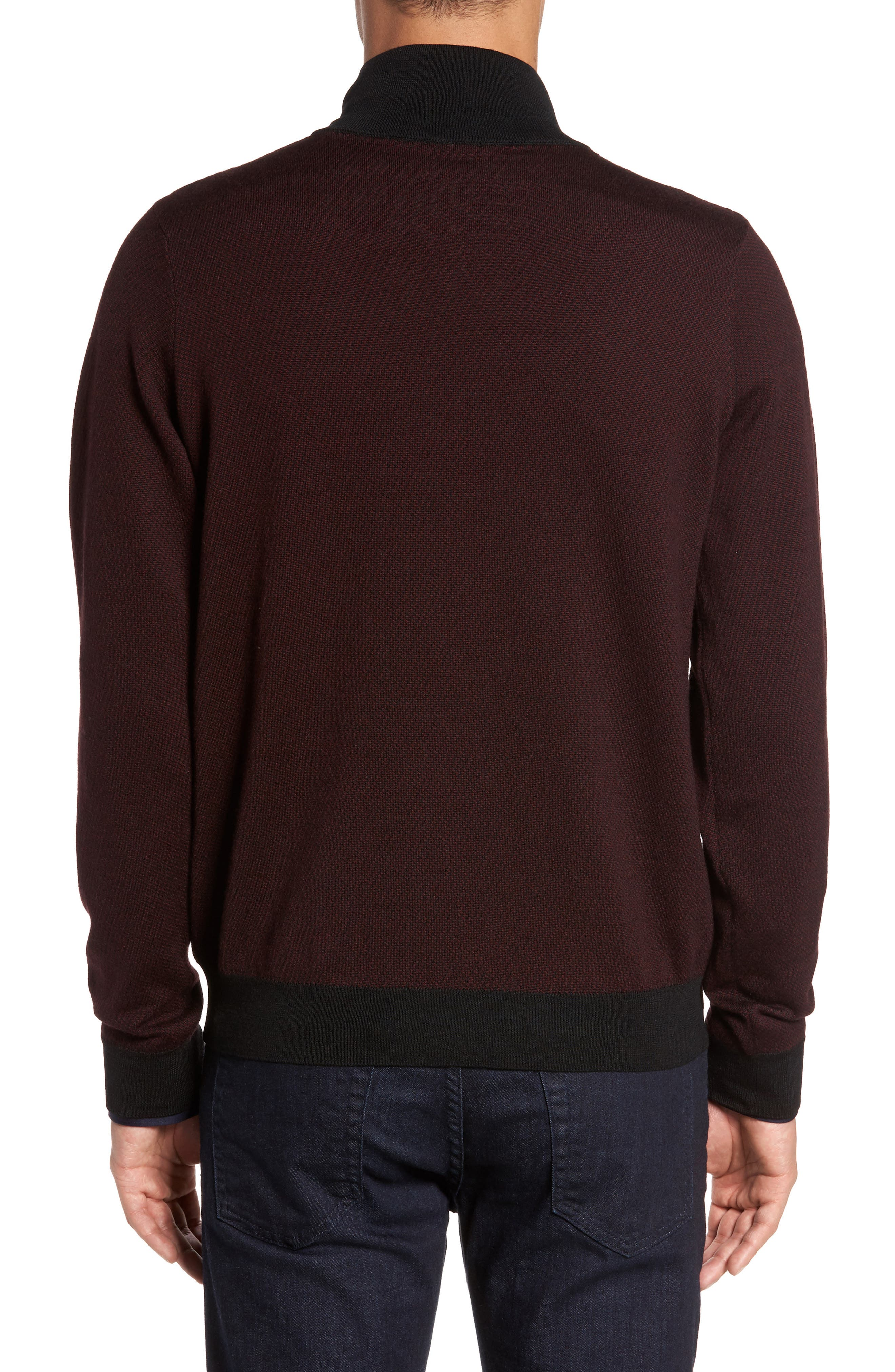Wool Quarter Zip Mock Neck Sweater,                             Alternate thumbnail 2, color,                             Burgundy