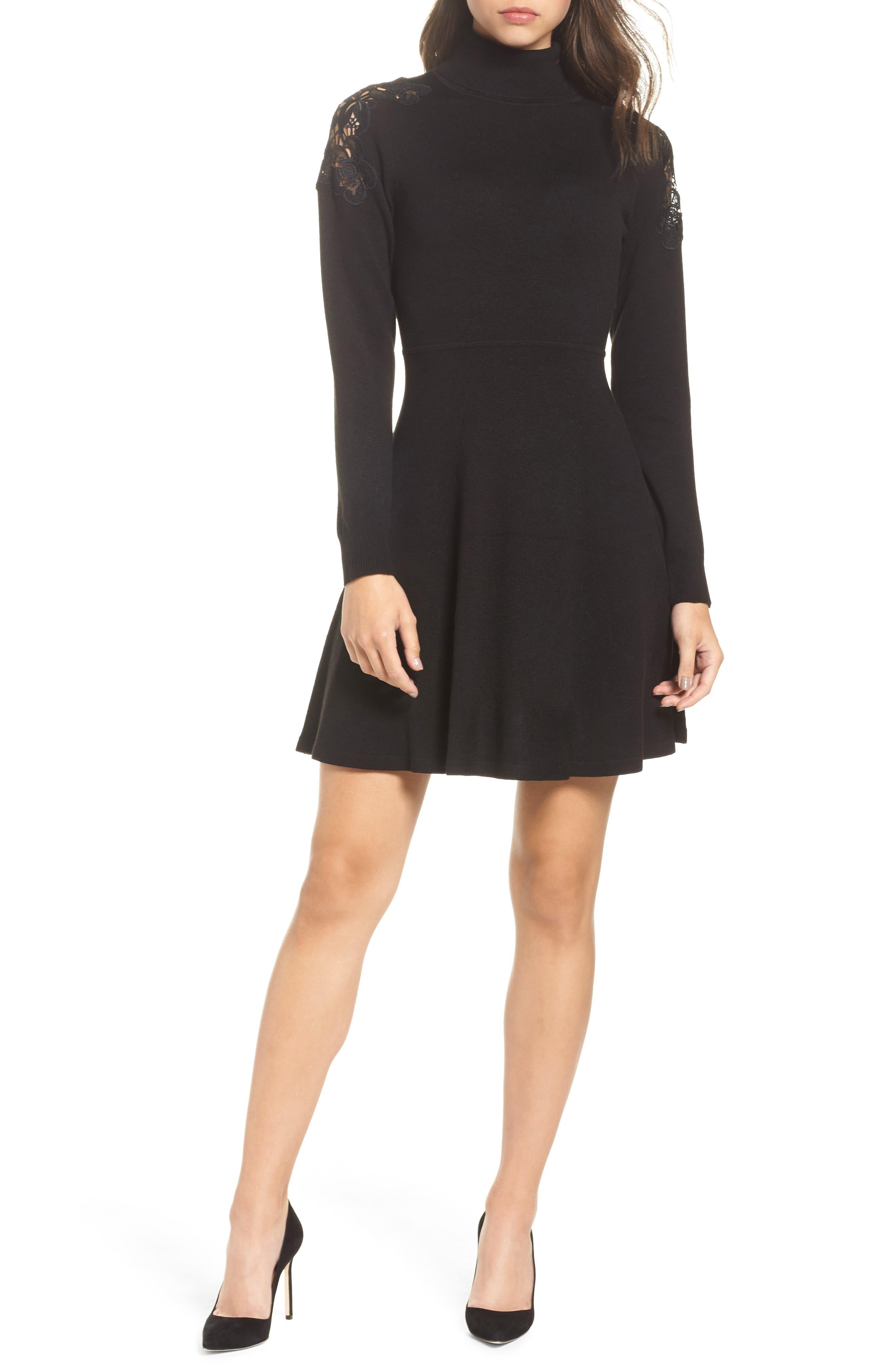 Eliza J Lace Shoulder Turtleneck Sweater Dress