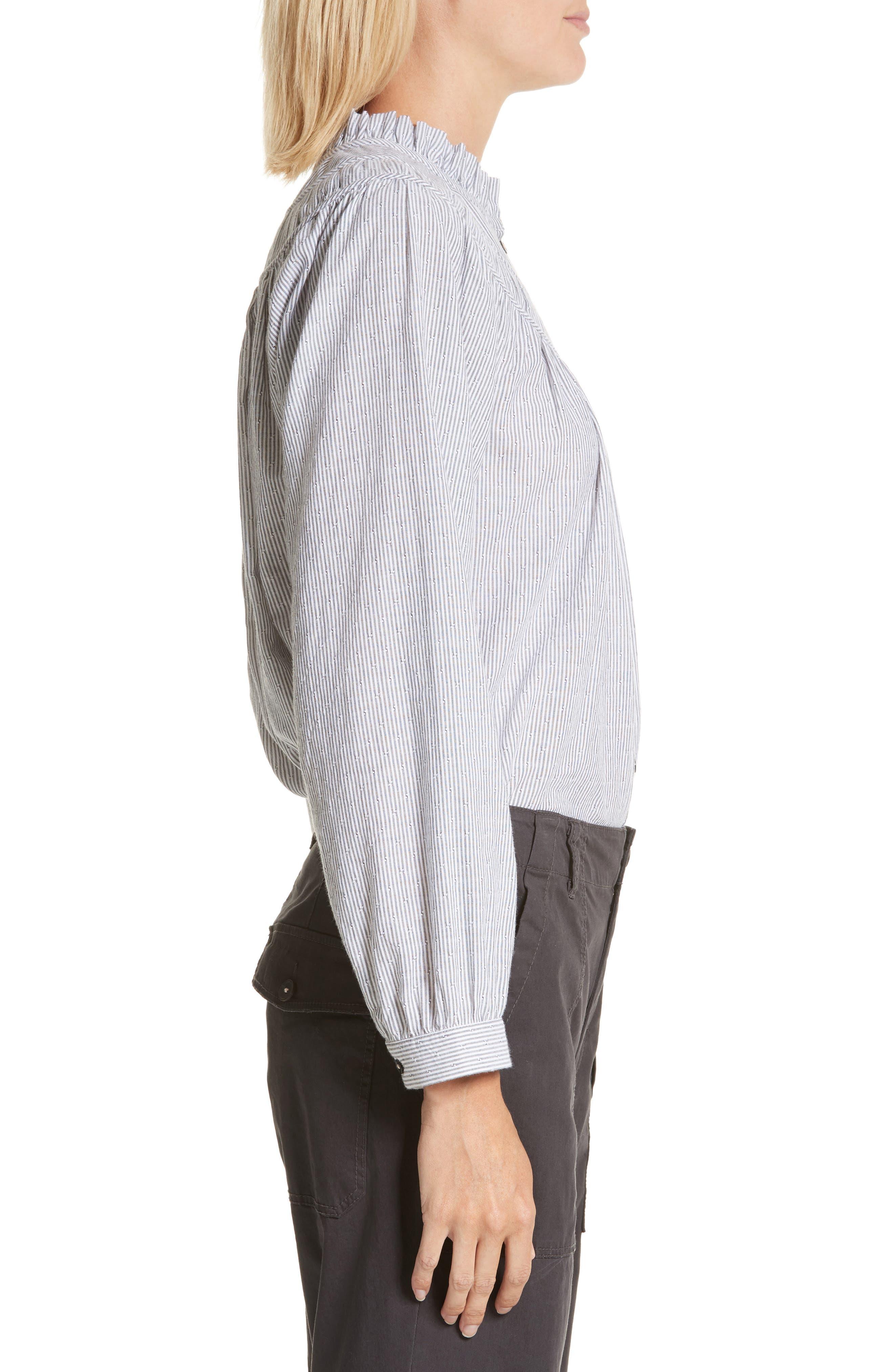 Stripe Long Sleeve Ruffle Shirt,                             Alternate thumbnail 3, color,                             Washed Black Combo