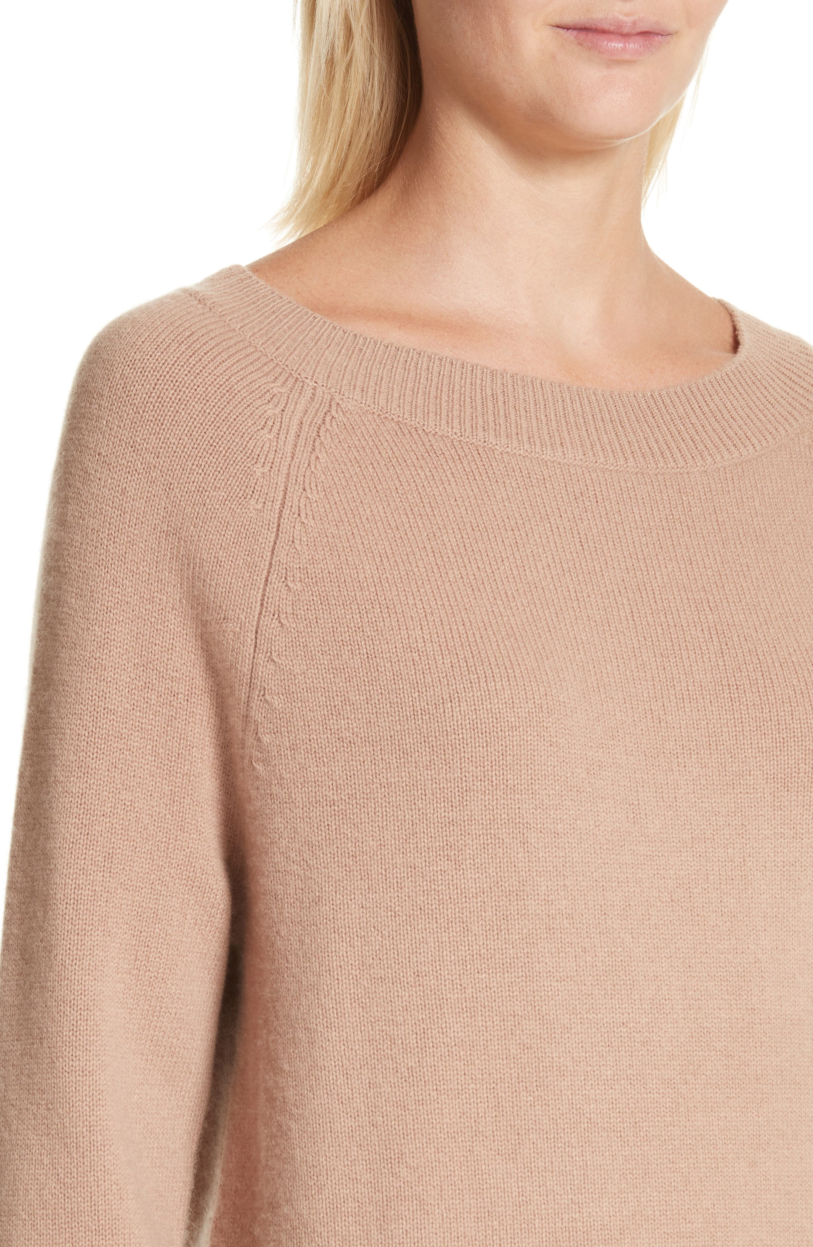 Cody Wool & Cashmere Boatneck Sweater,                             Alternate thumbnail 4, color,                             Camel