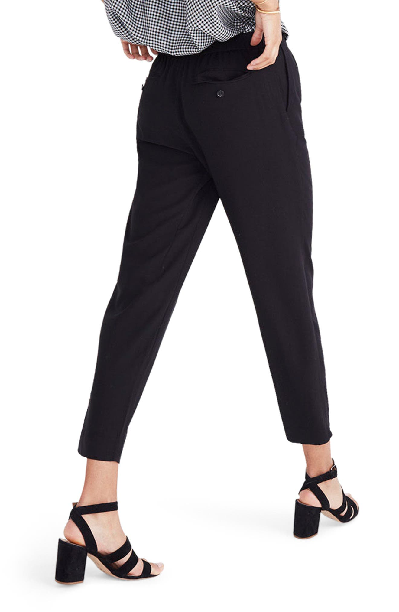 High Waist Crop Track Trousers,                             Alternate thumbnail 2, color,                             True Black