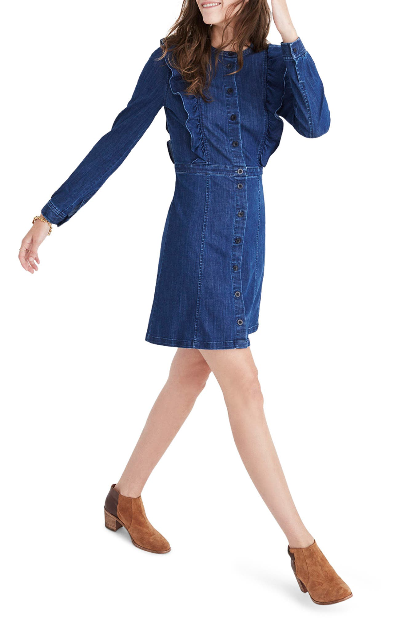 Madewell Ruffle Denim Dress