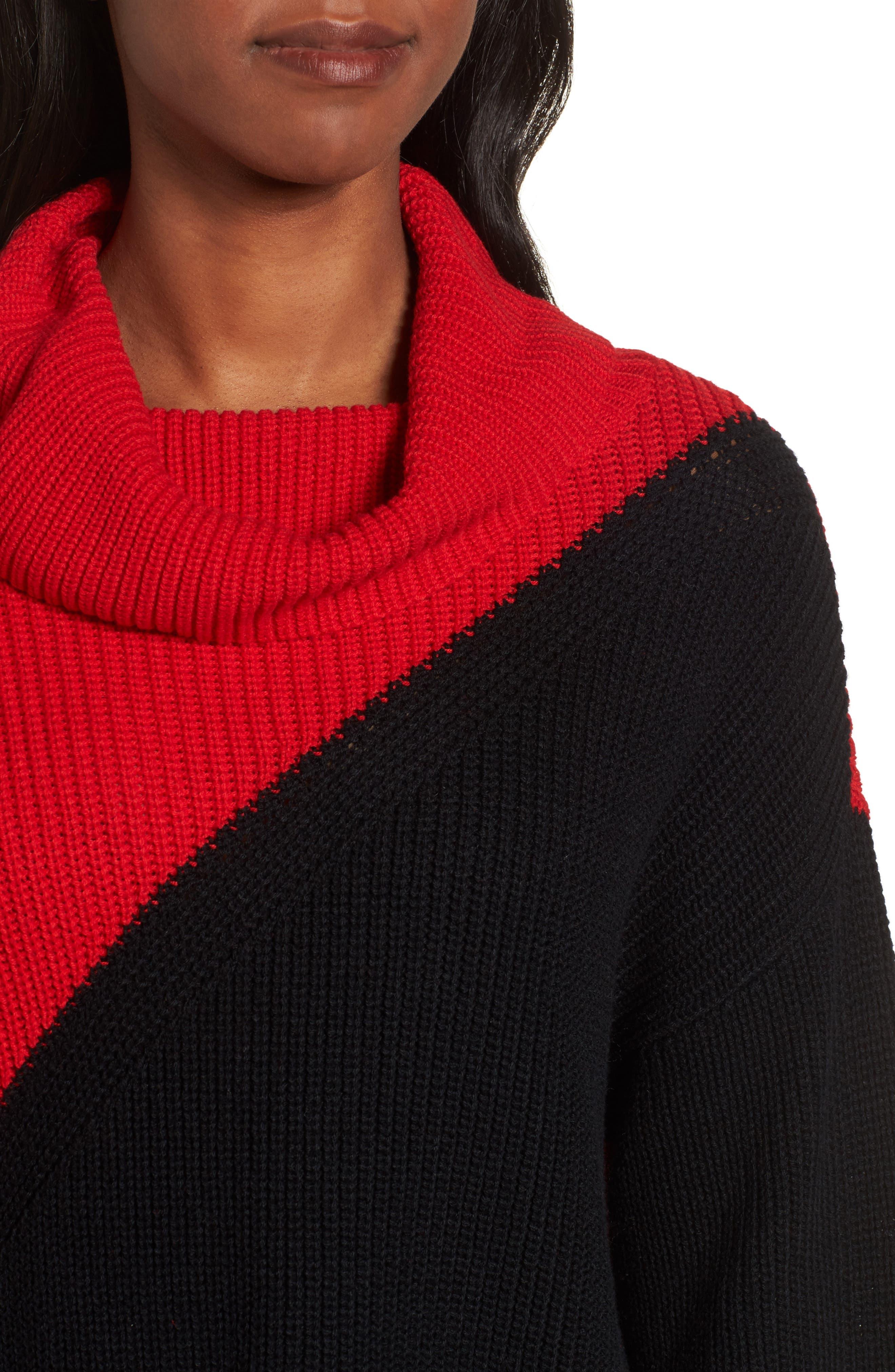Colorblock Cowl Neck Sweater,                             Alternate thumbnail 4, color,                             Rouge
