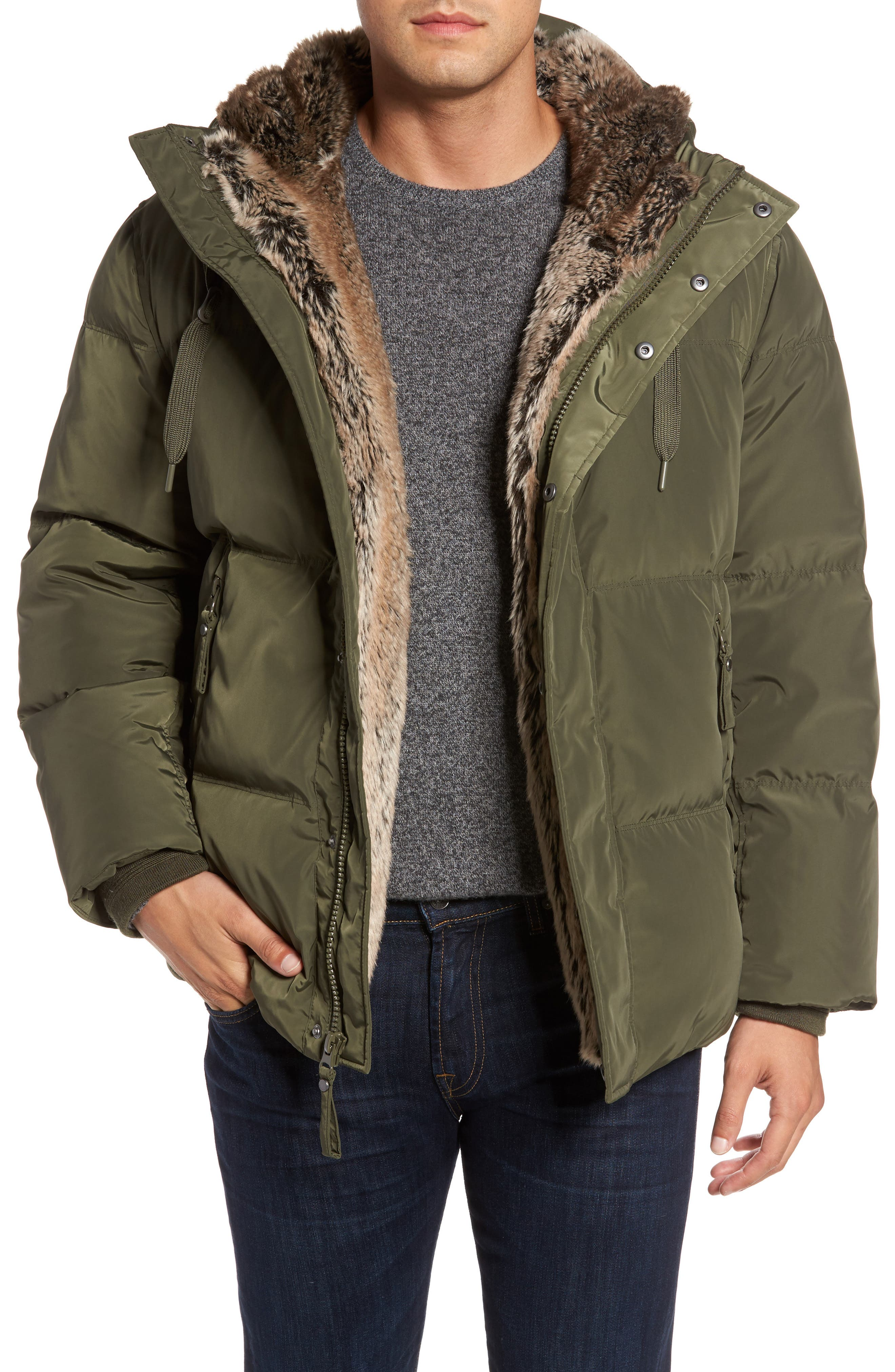 Athlone Faux Fur Down Jacket,                         Main,                         color, Moss