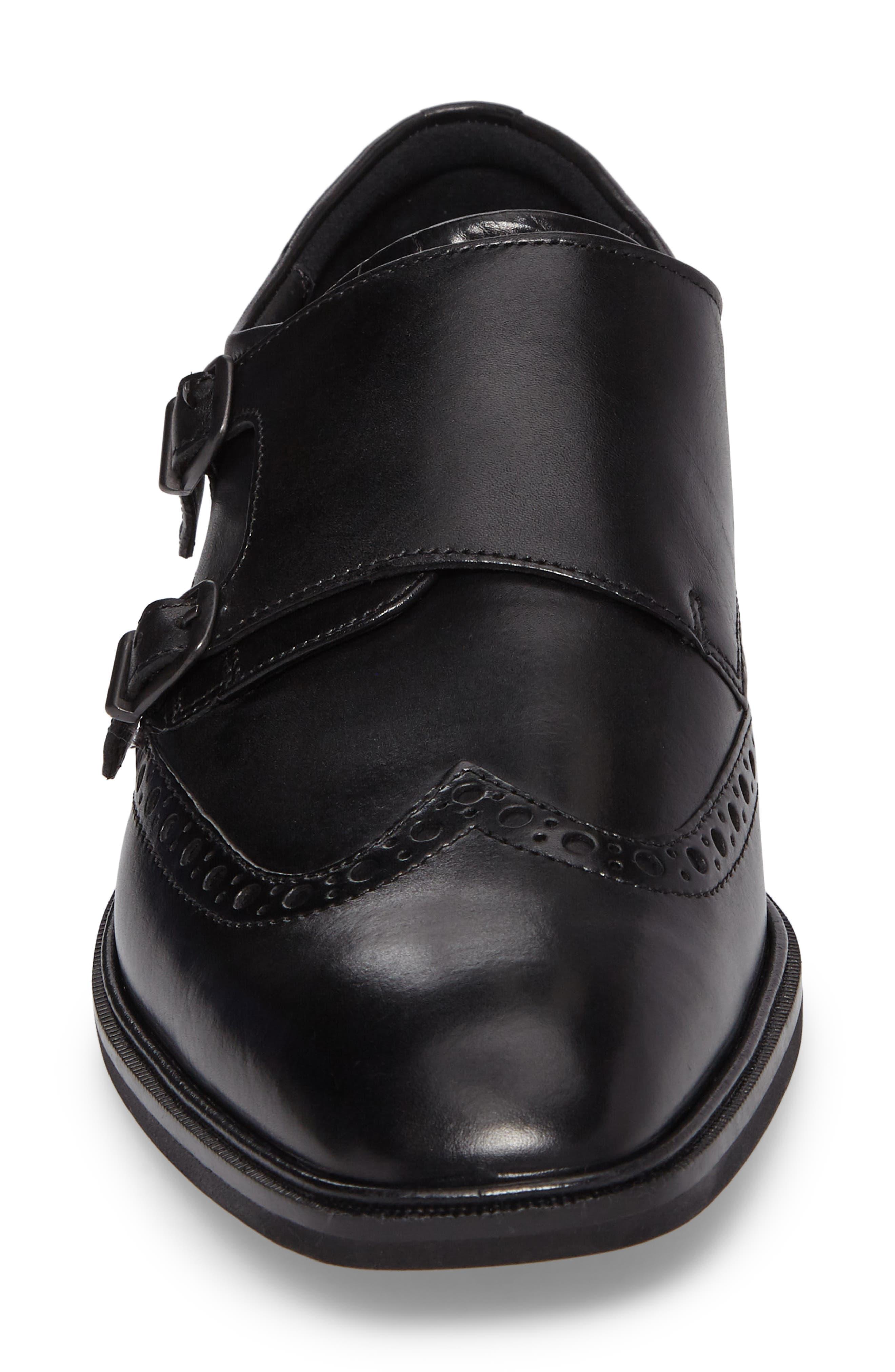 Illinois Double Monk Strap Shoe,                             Alternate thumbnail 4, color,                             Black Leather