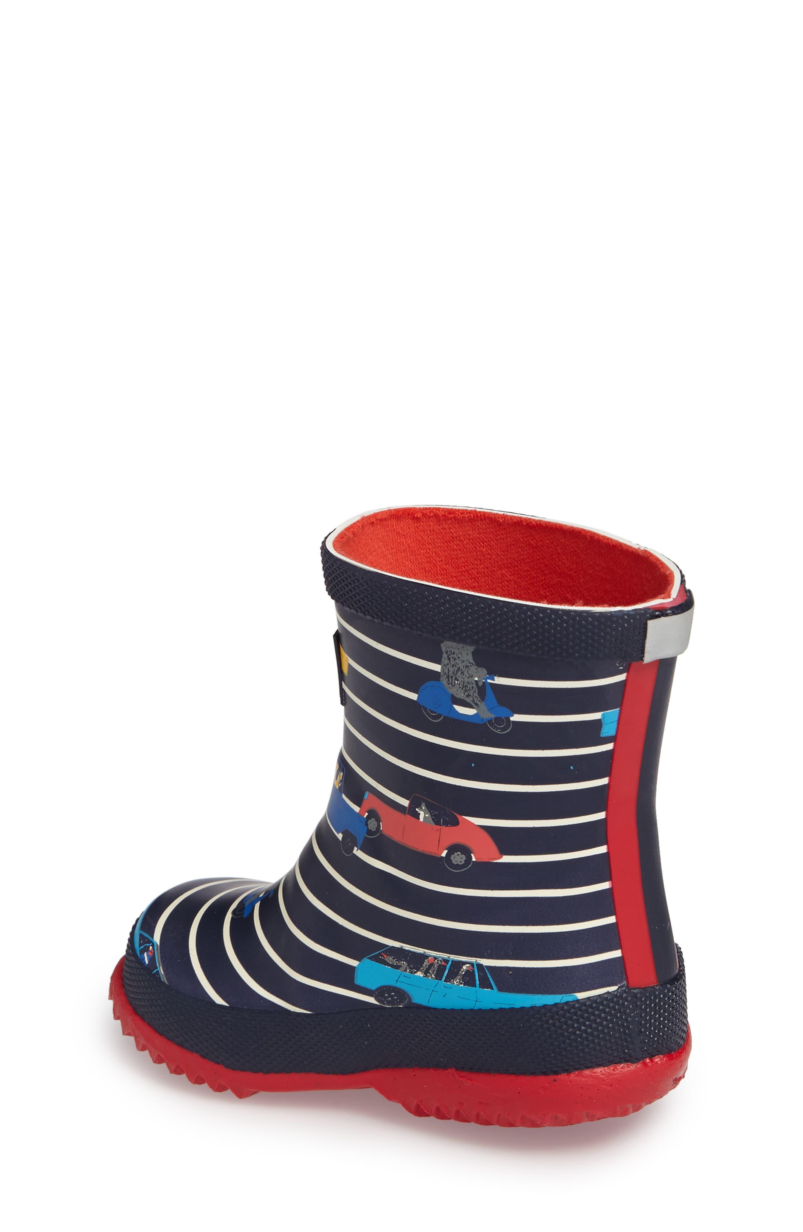 Printed Waterproof Rain Boot,                             Alternate thumbnail 2, color,                             Navy Car