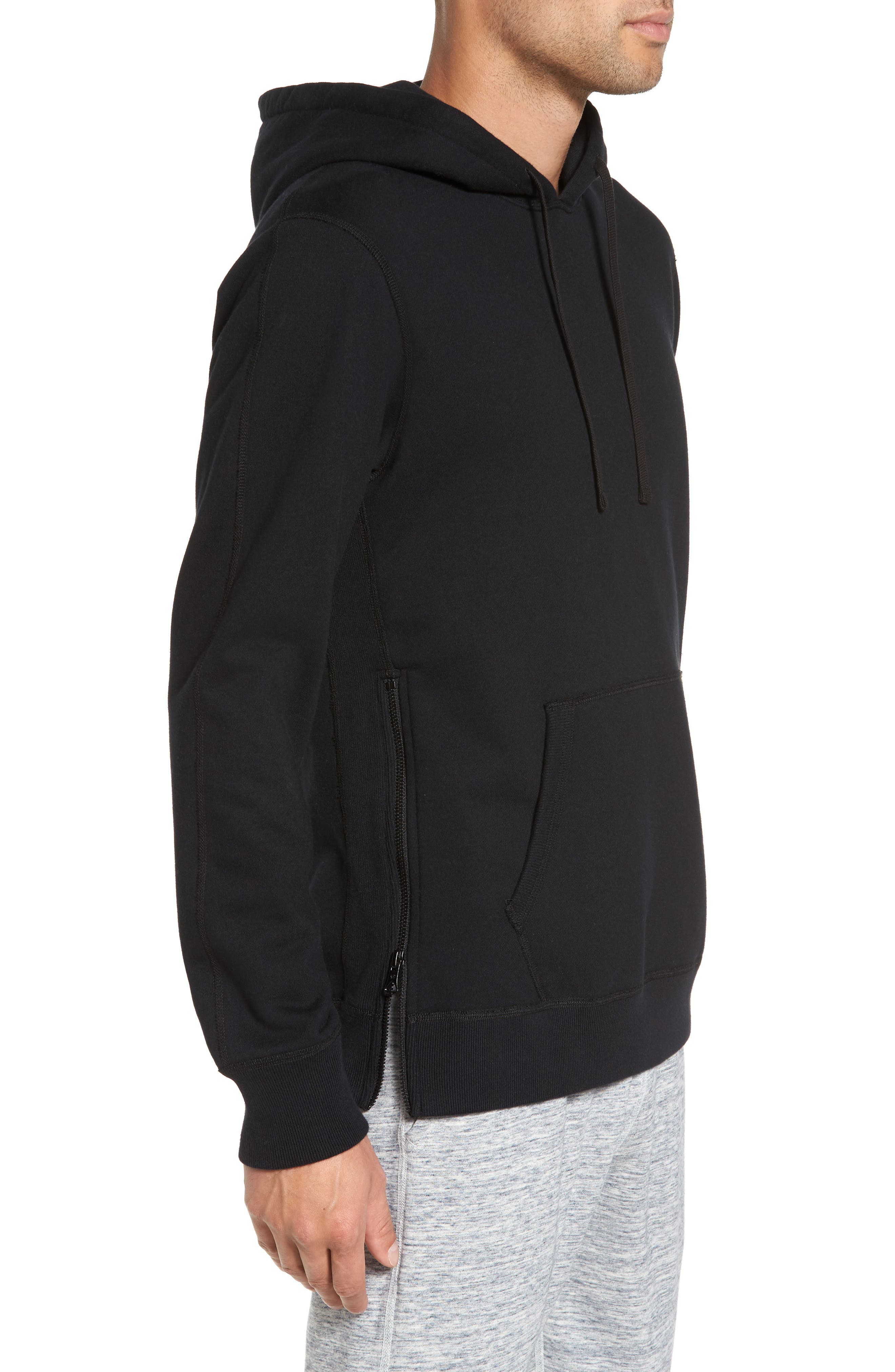 French Terry Hoodie,                             Alternate thumbnail 3, color,                             Black