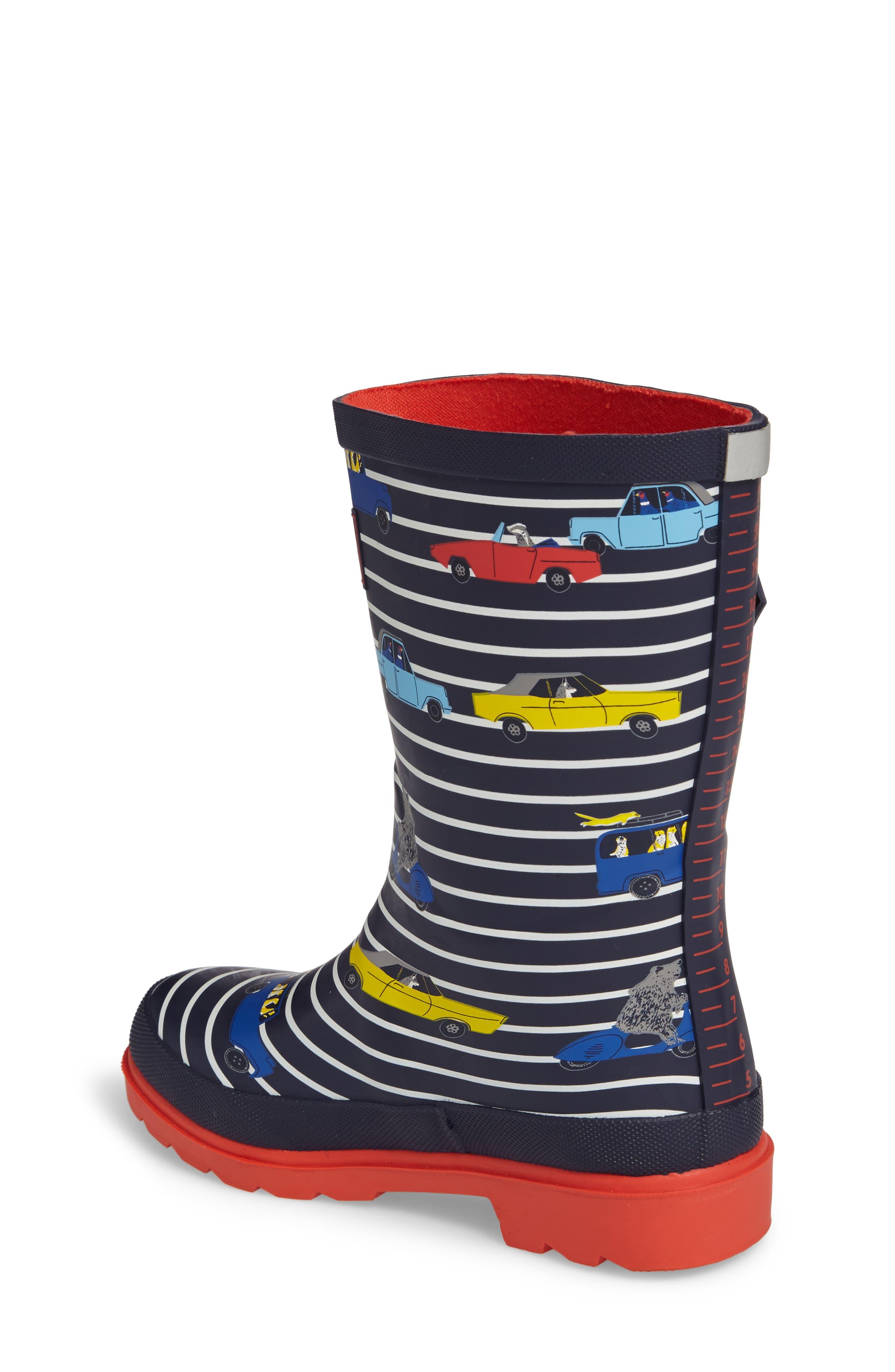 Printed Waterproof Rain Boot,                             Alternate thumbnail 2, color,                             Navy Stripe Cars