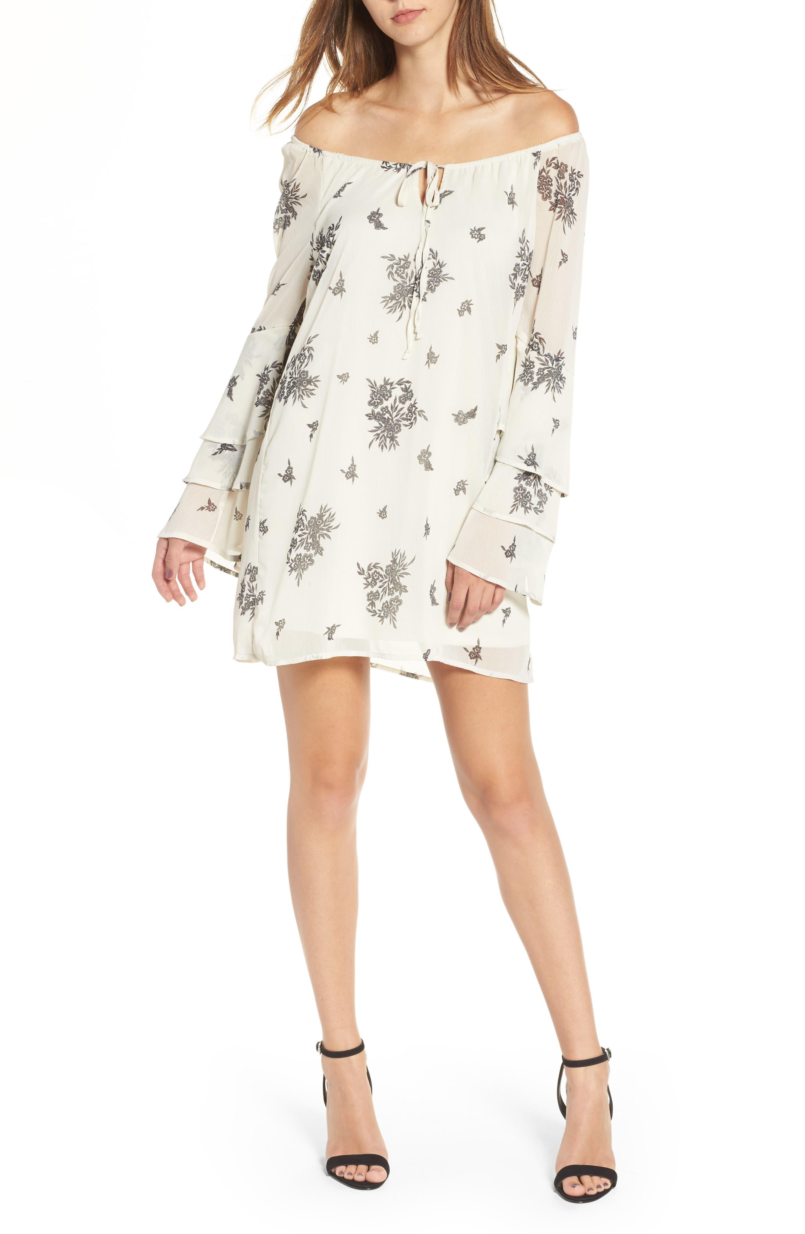 Ruffle Sleeve Dress,                             Main thumbnail 1, color,                             Cream/ Black