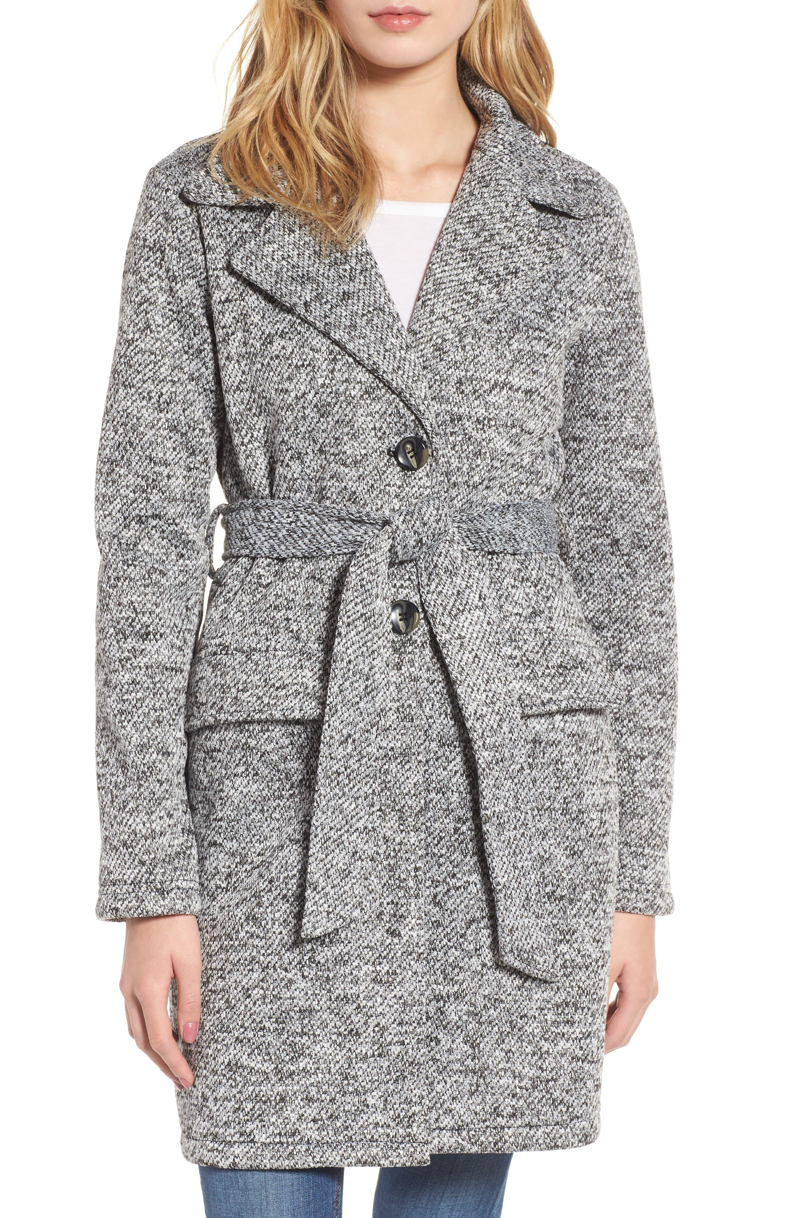 Belted Fleece Jacket,                             Alternate thumbnail 4, color,                             Light Grey Heather
