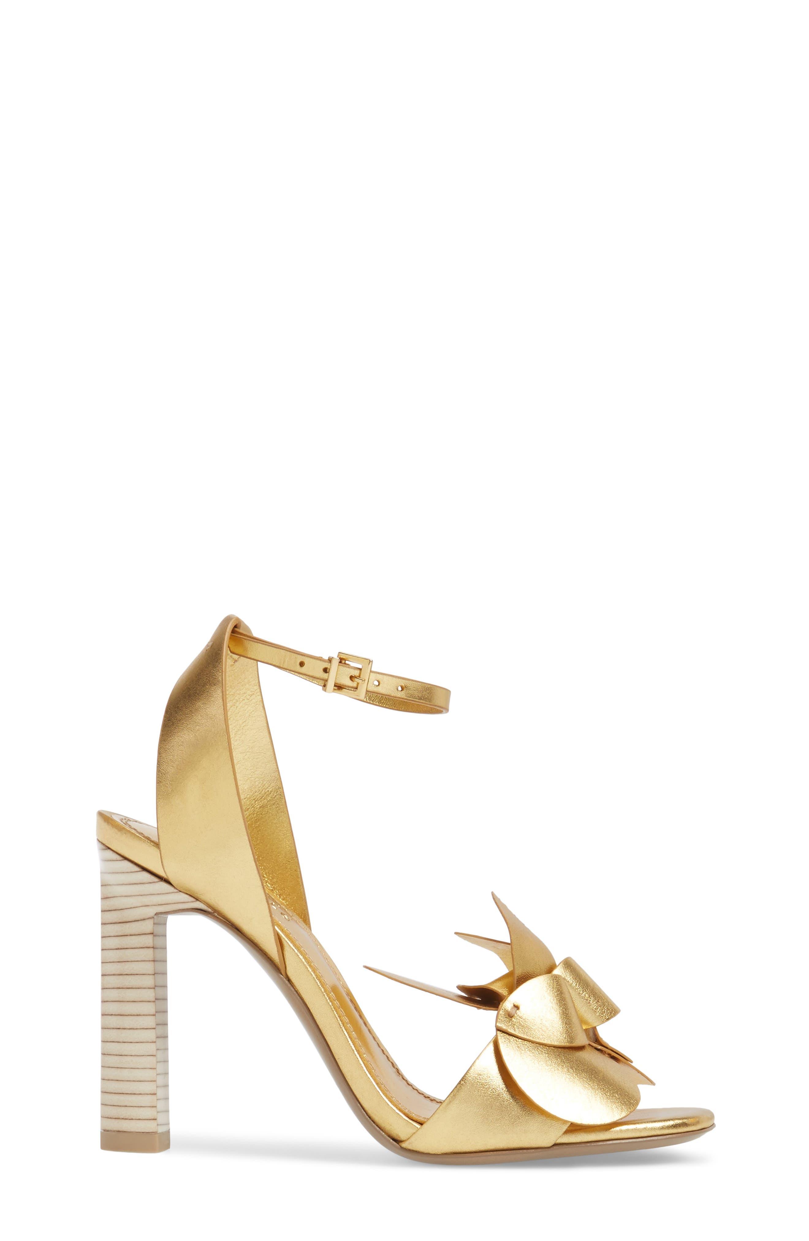 Tealia Sandal,                             Alternate thumbnail 4, color,                             Gold Leather