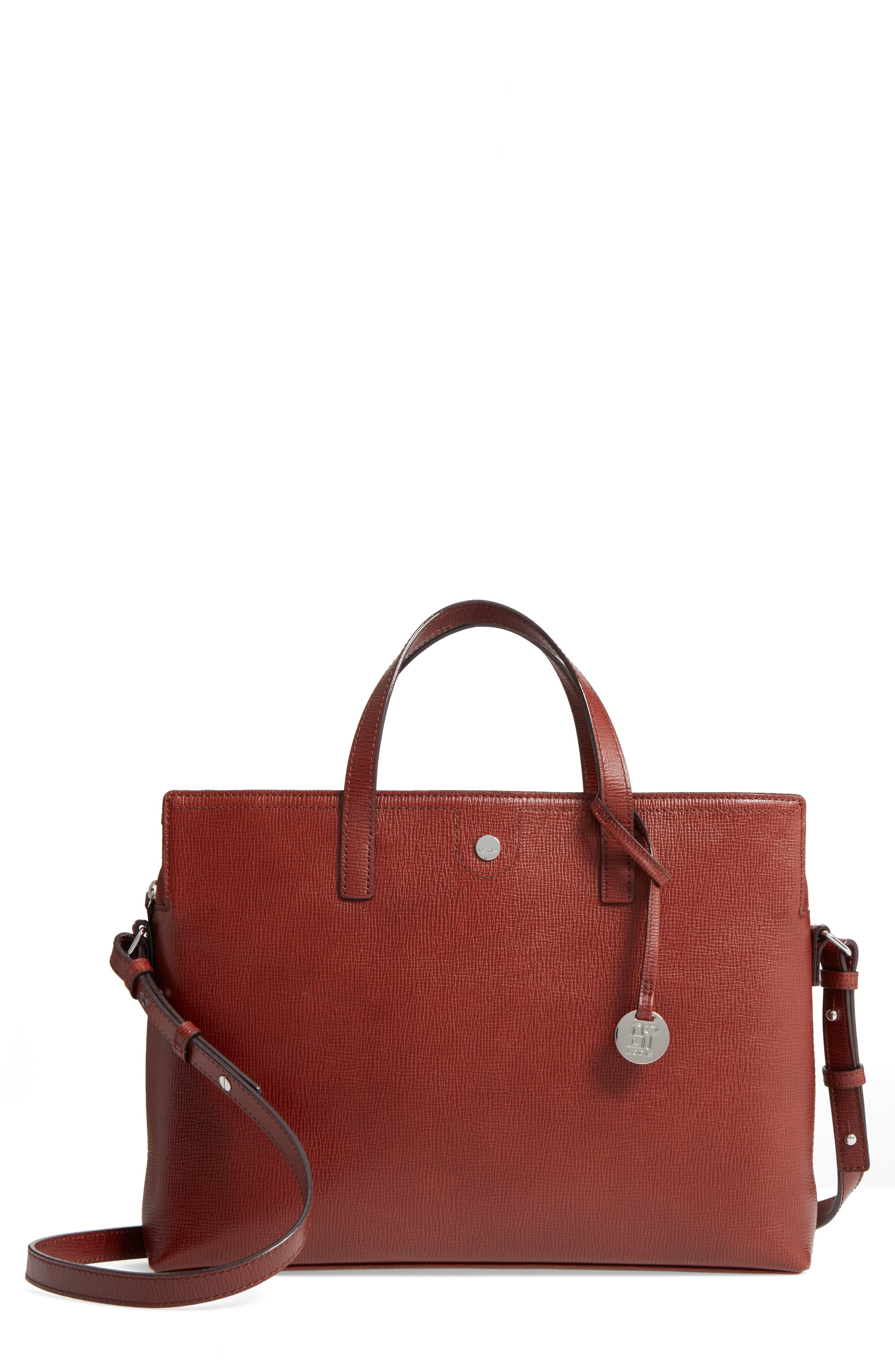 Business Chic Judith RFID-Protected Leather Laptop Briefcase,                             Main thumbnail 1, color,                             Russet