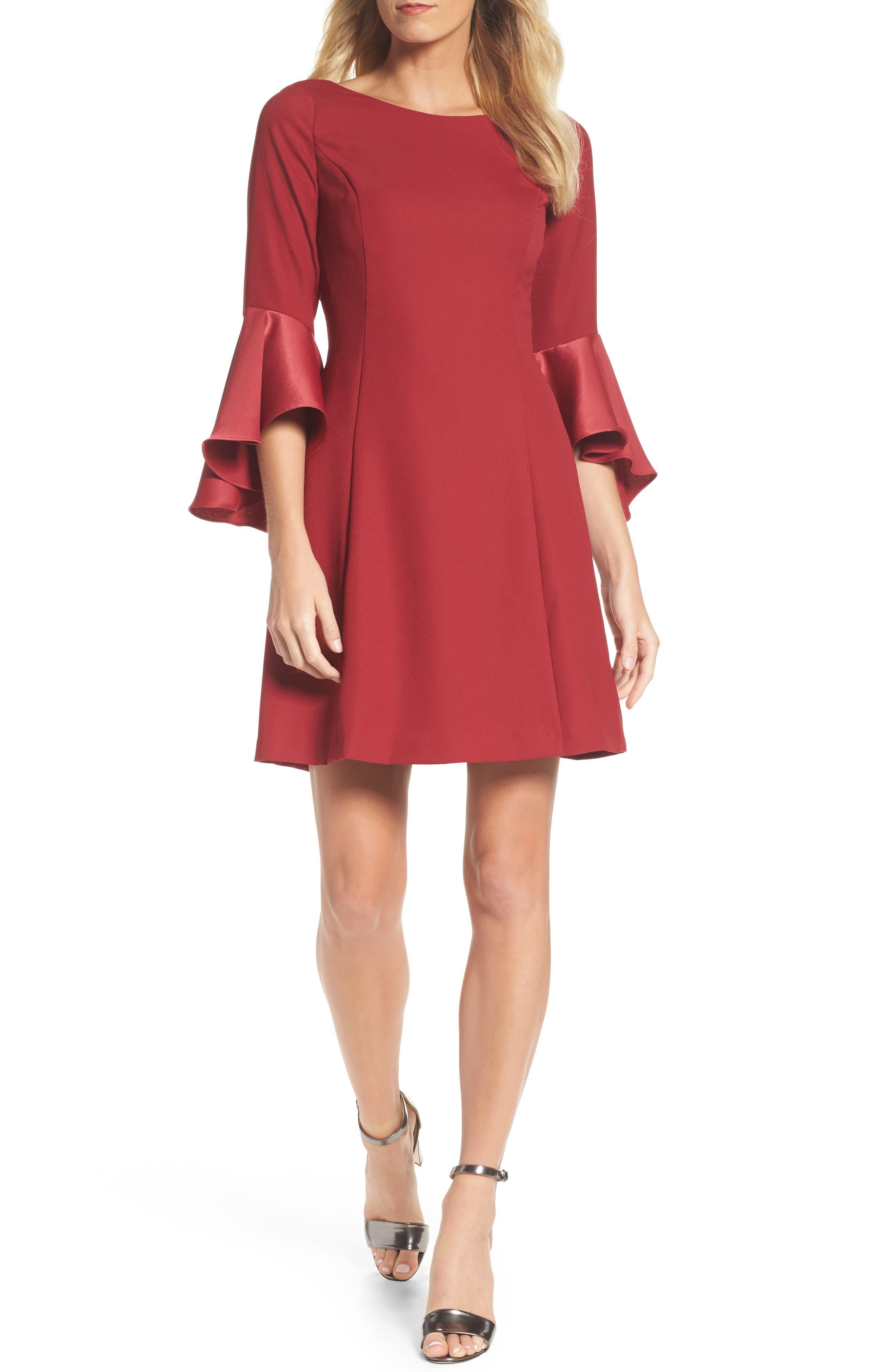Adrianna Papell Satin Ruffle Sleeve A-Line Dress