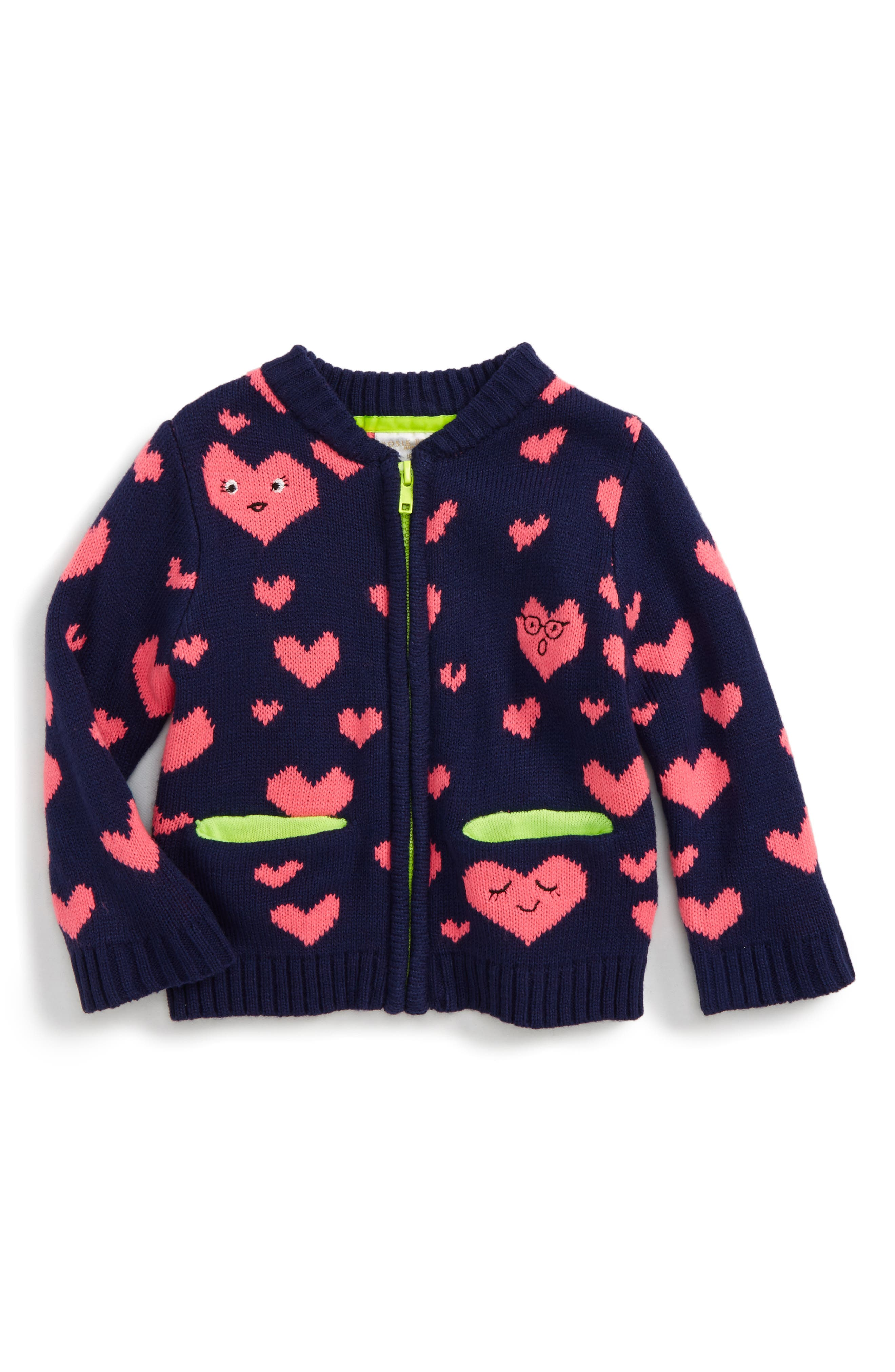 Heart Zip Up Cardigan,                         Main,                         color, Navy