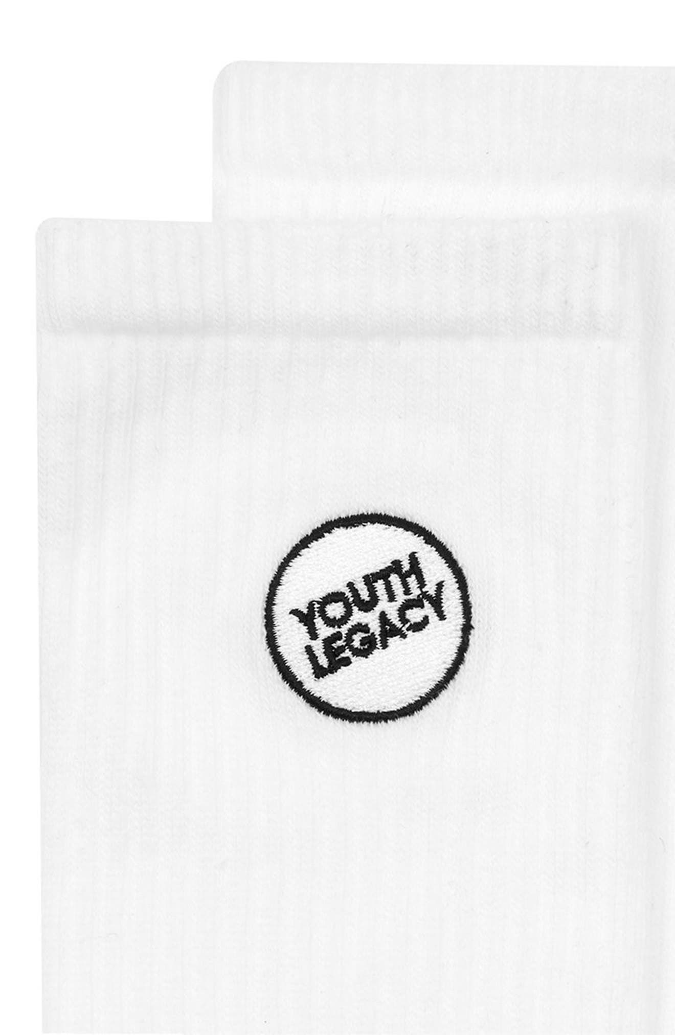 Youth Legacy Tube Socks,                             Alternate thumbnail 2, color,                             White Multi