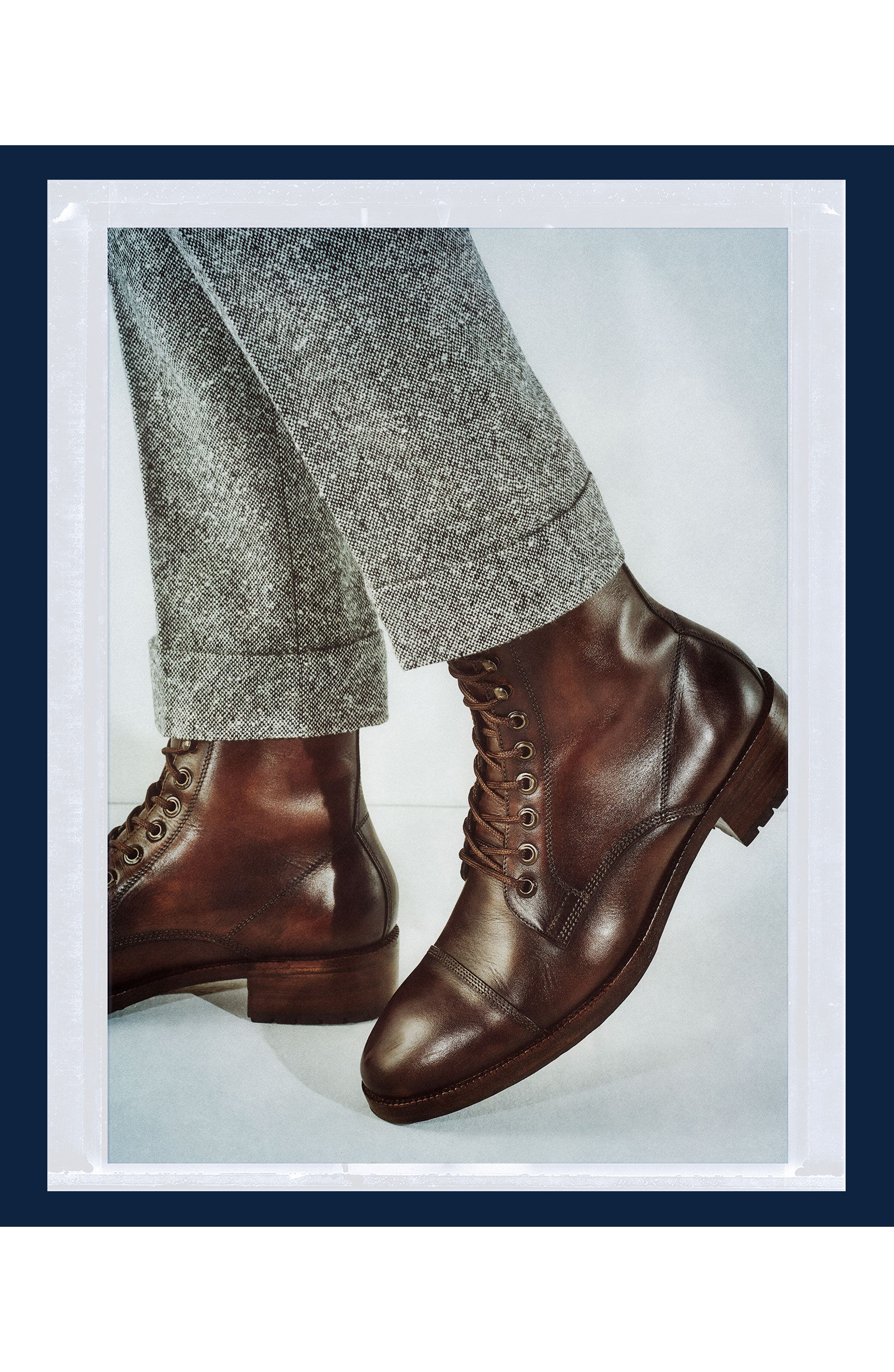 x GQ Ted Cap Toe Boot,                             Alternate thumbnail 3, color,                             Brown Leather