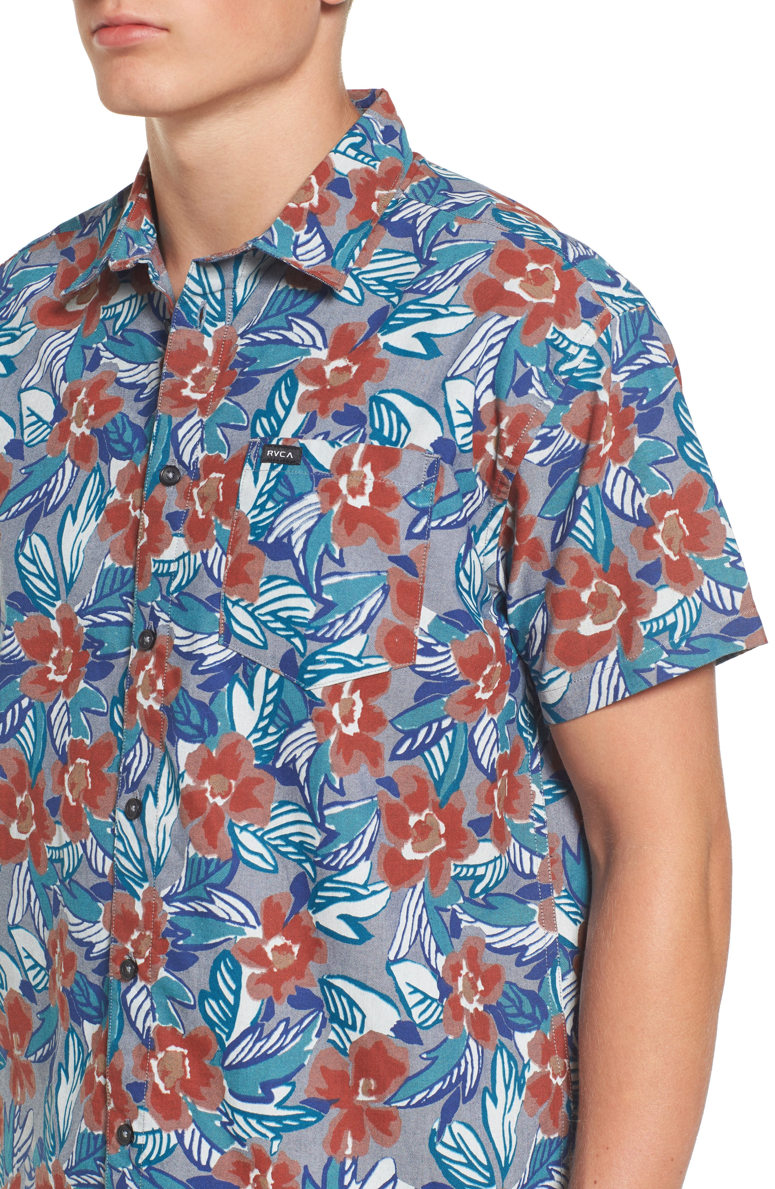 Alternate Image 4  - RVCA Paradise Valley Floral Woven Shirt