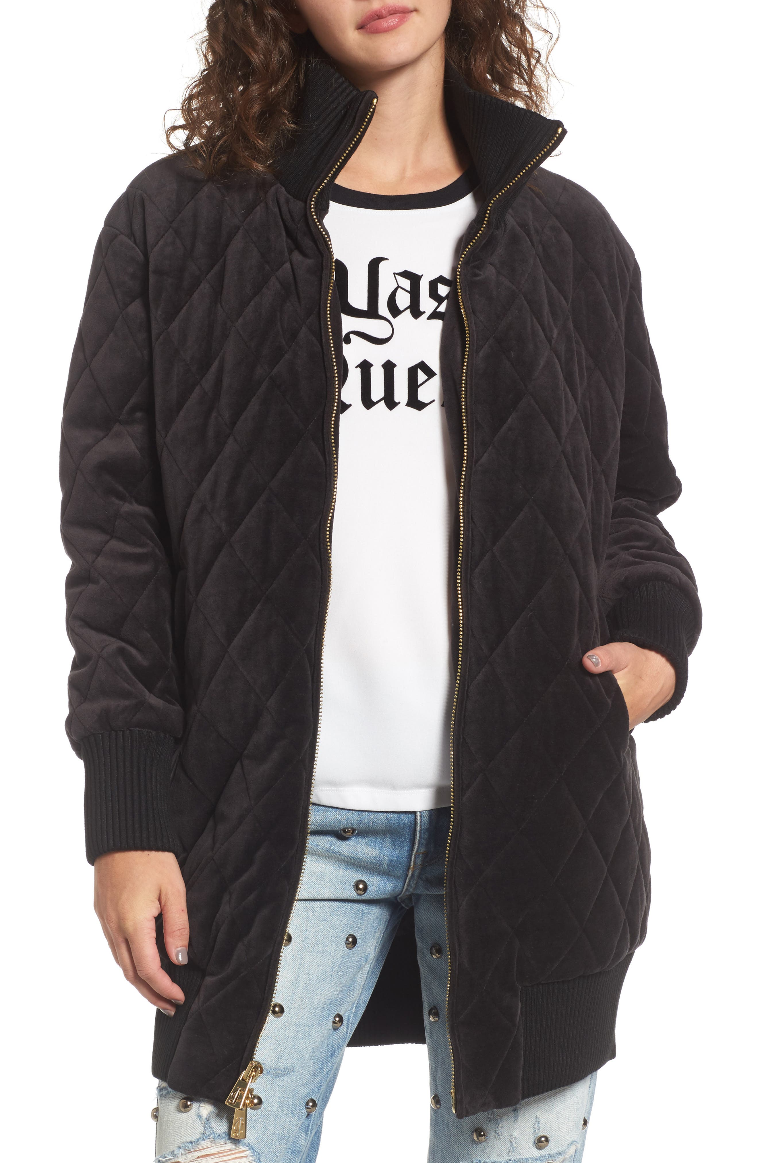 Velour Quilted Puffer Coat,                         Main,                         color, Pitch Black