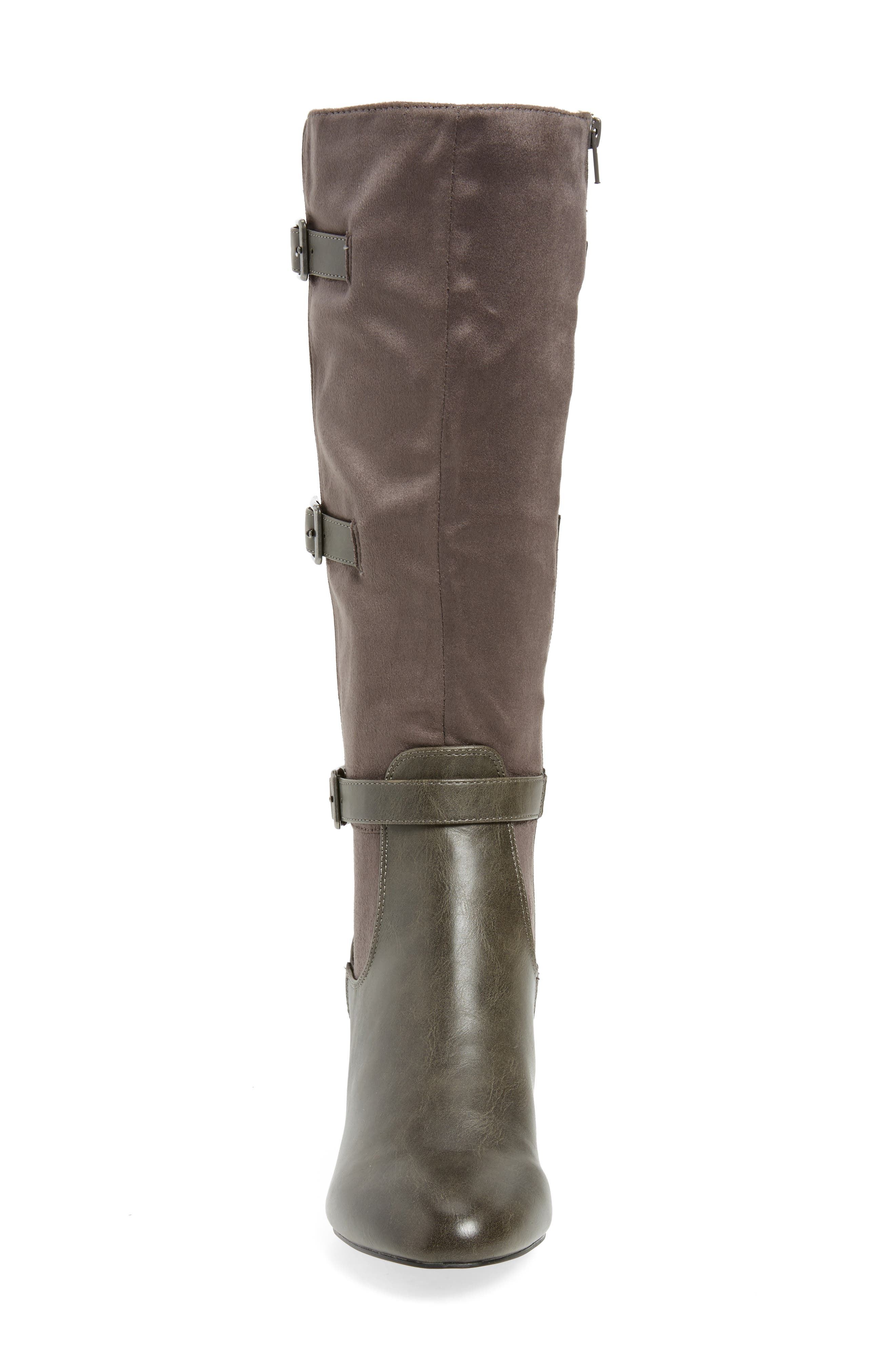 Talina II Belted Knee High Boot,                             Alternate thumbnail 4, color,                             Grey Suede