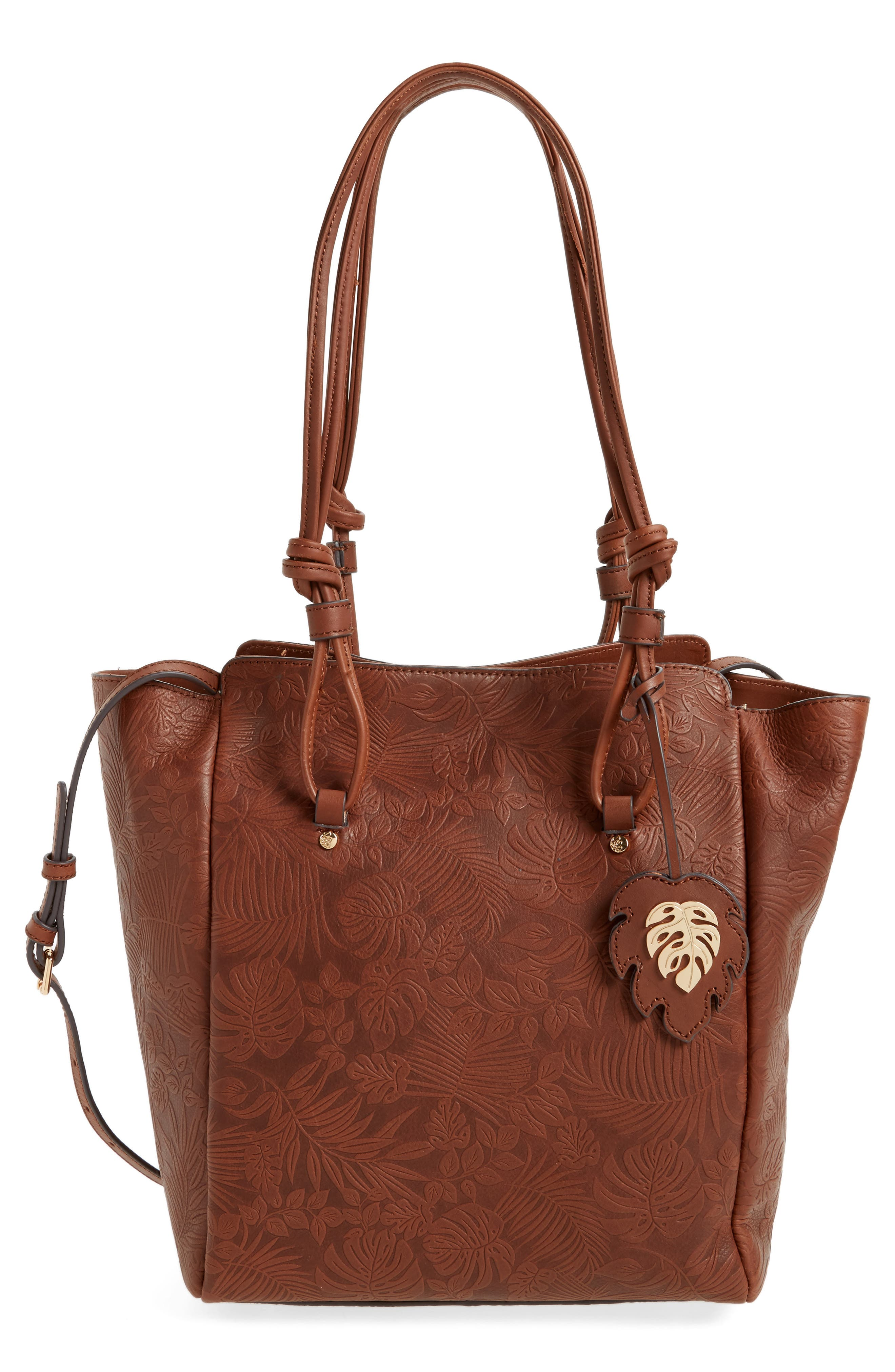 Embossed Leather Tote,                             Main thumbnail 1, color,                             Chestnut
