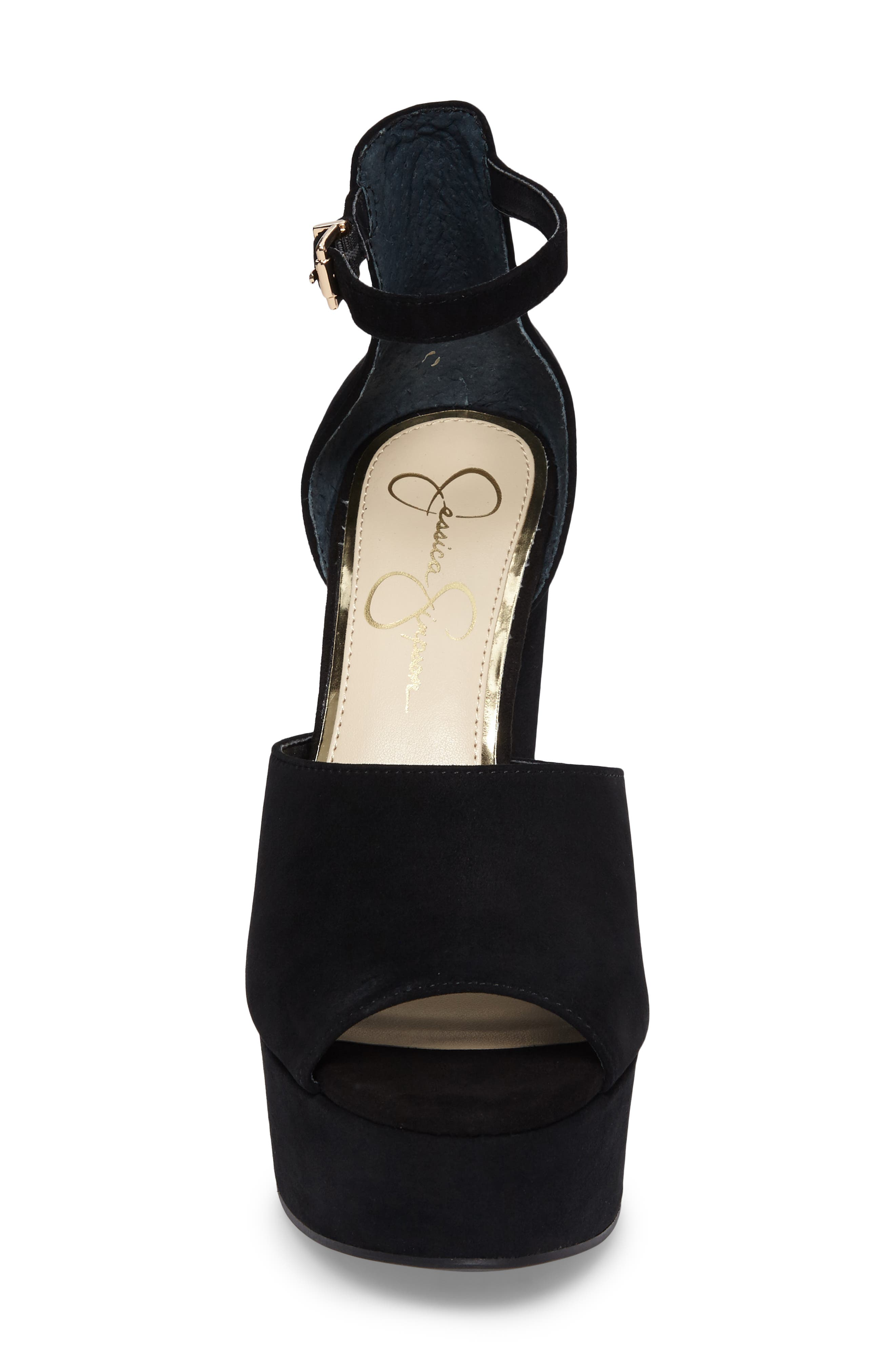 Elin Platform Sandal,                             Alternate thumbnail 4, color,                             Black Suede