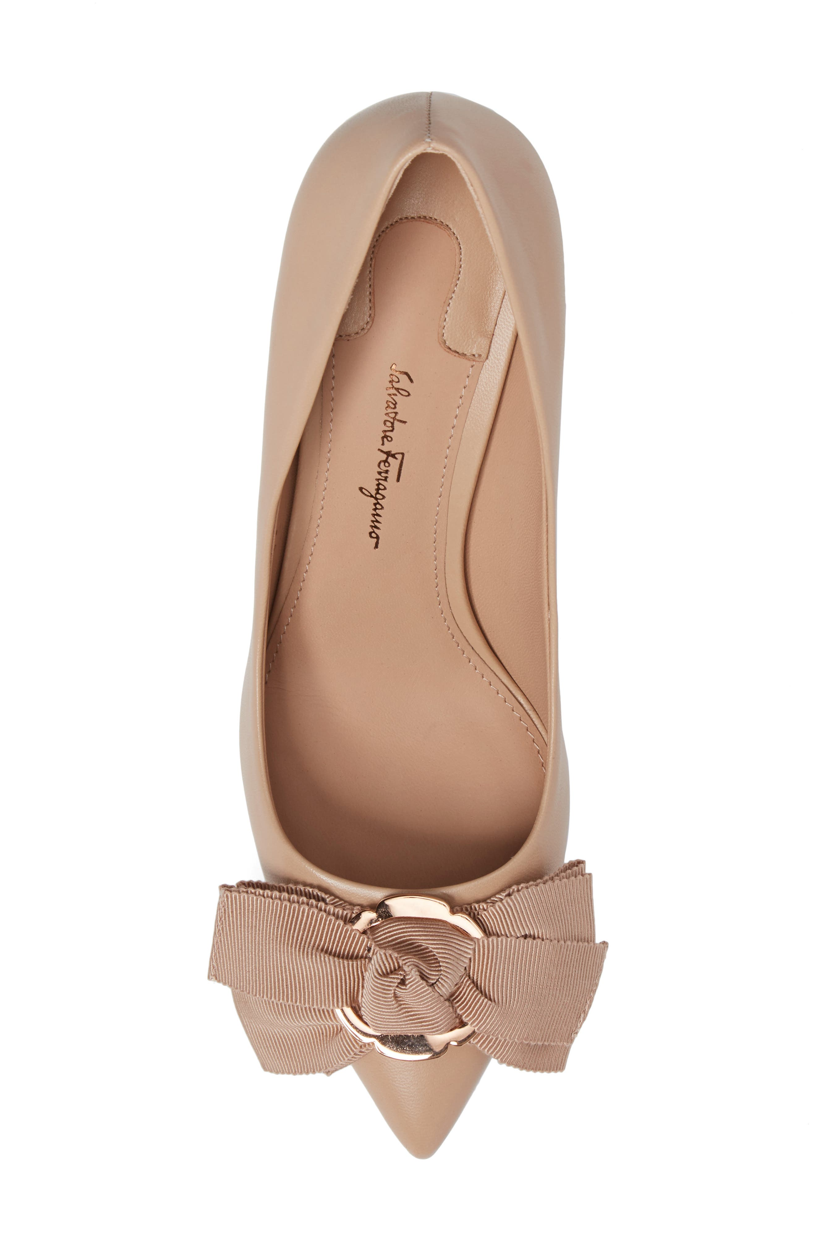Talla Bow Pointy Toe Pump,                             Alternate thumbnail 5, color,                             Almond