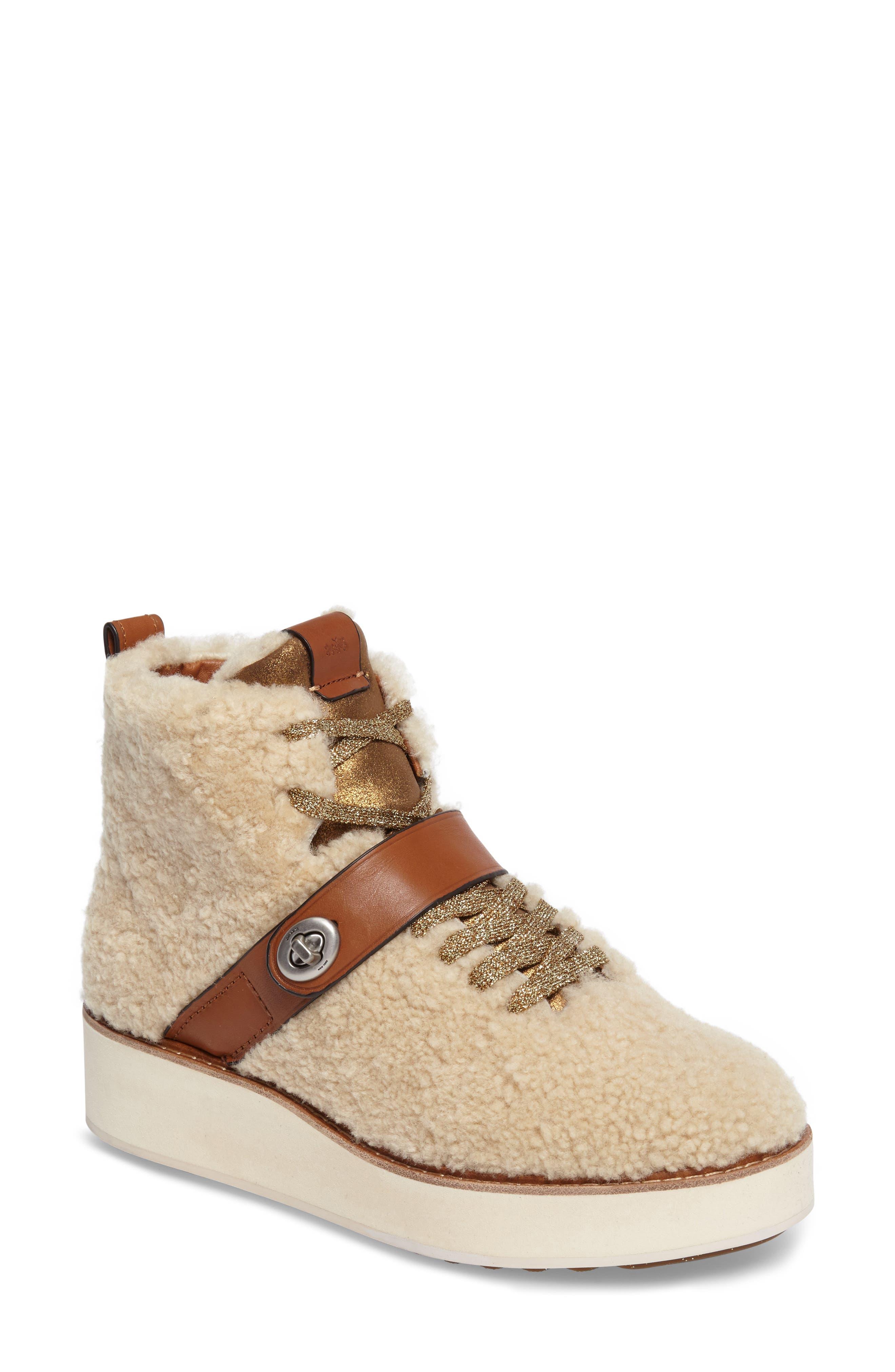 COACH Urban Hiker Genuine Shearling Wedge Boot (Women)