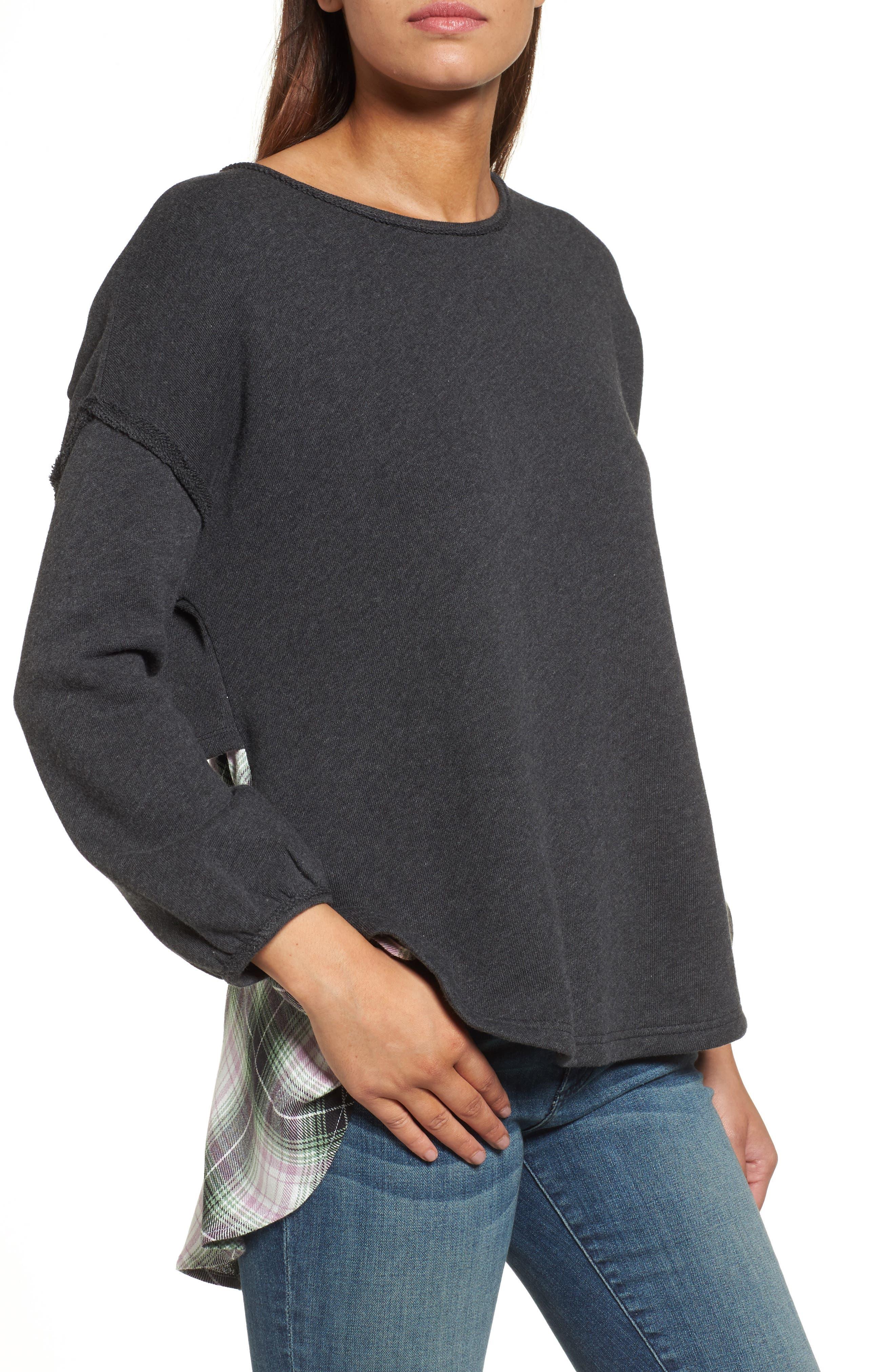Layered Look Sweatshirt,                         Main,                         color, Heather Charcoal