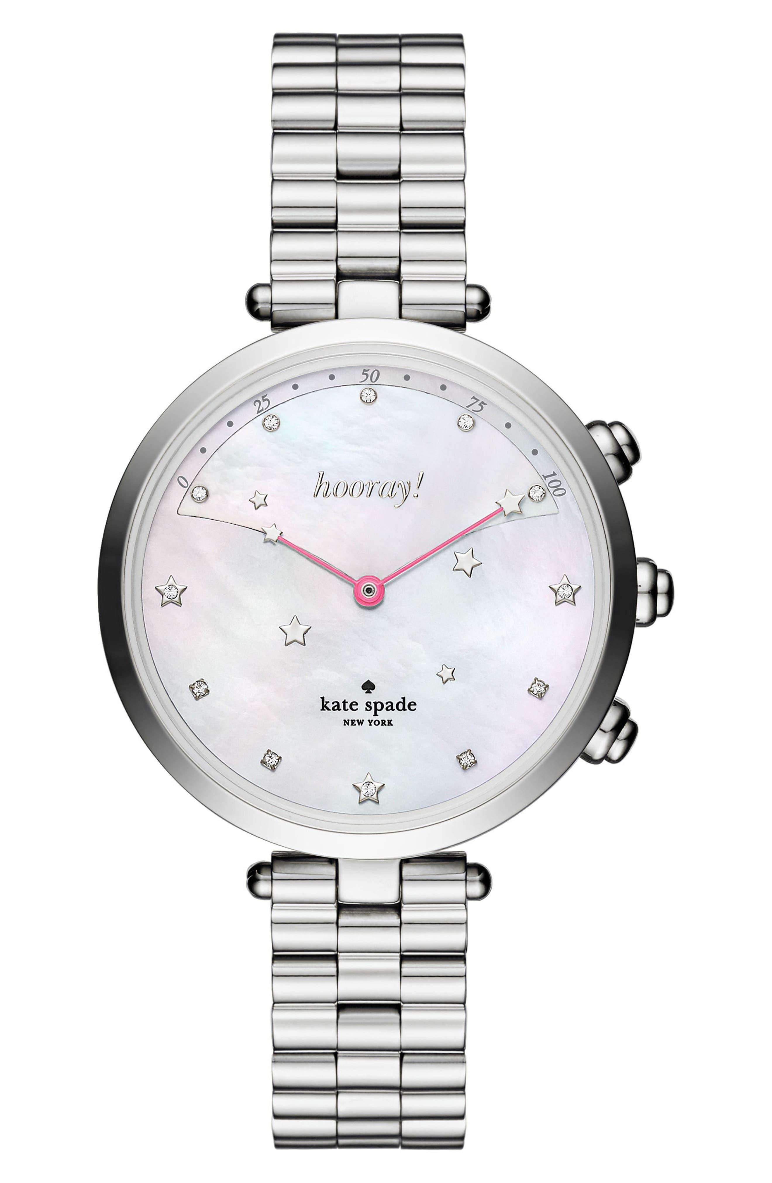 holland hybrid bracelet watch, 37mm,                         Main,                         color, Silver/ Mop/ Silver
