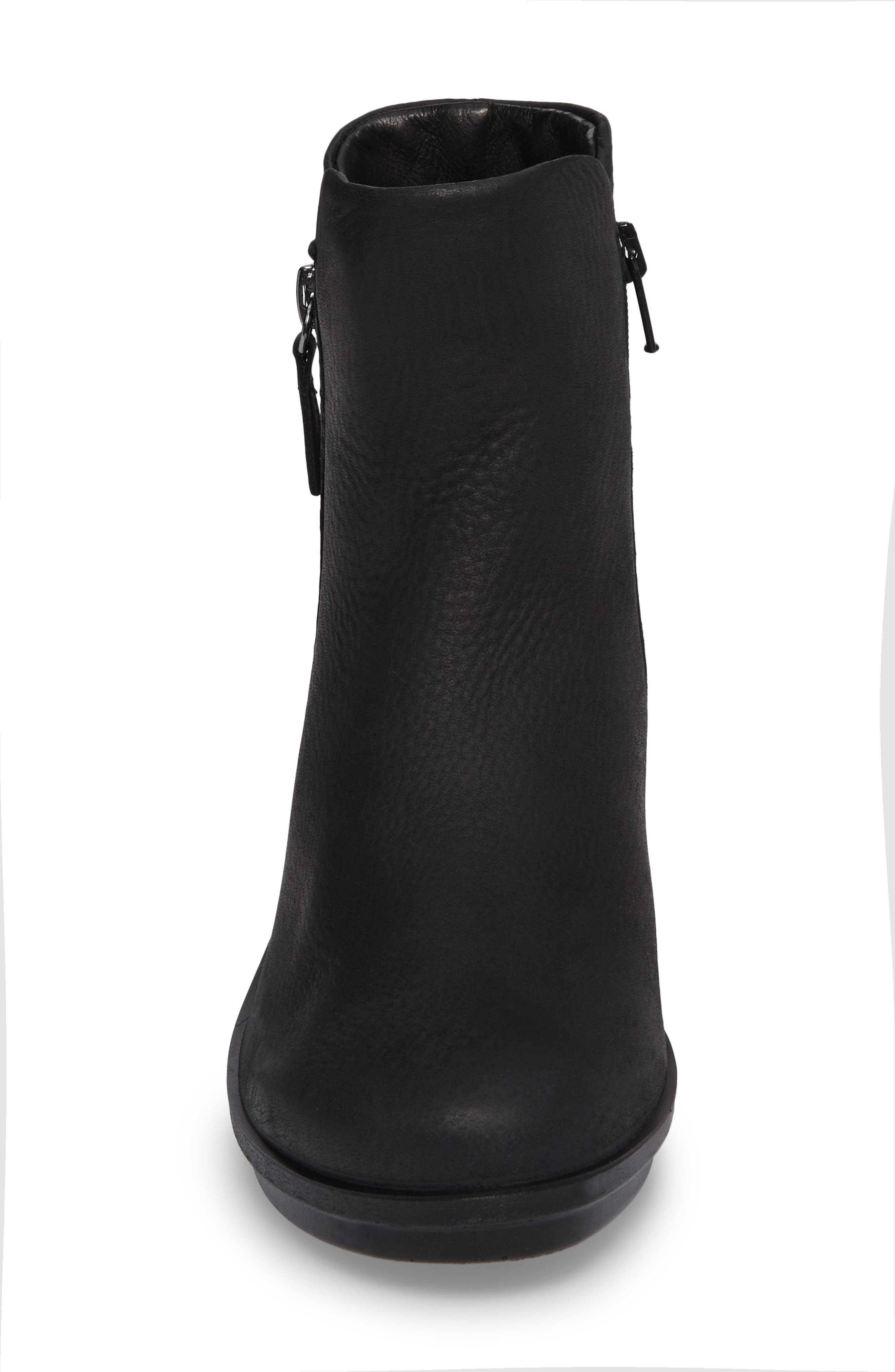 Skyler Notched Wedge Bootie,                             Alternate thumbnail 4, color,                             Black Leather