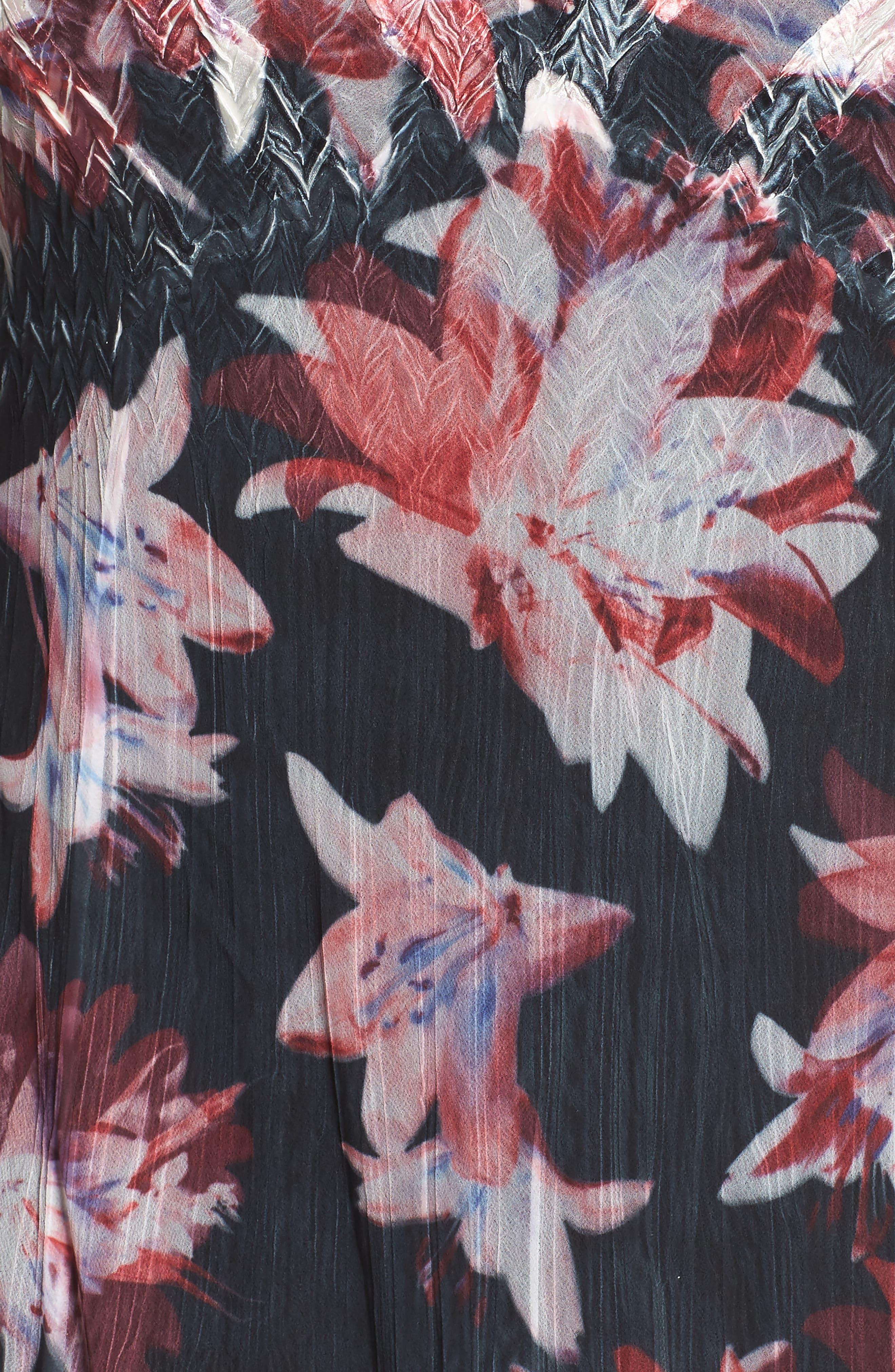Chiffon & Charmeuse A-Line Dress,                             Alternate thumbnail 5, color,                             Scarlet Night